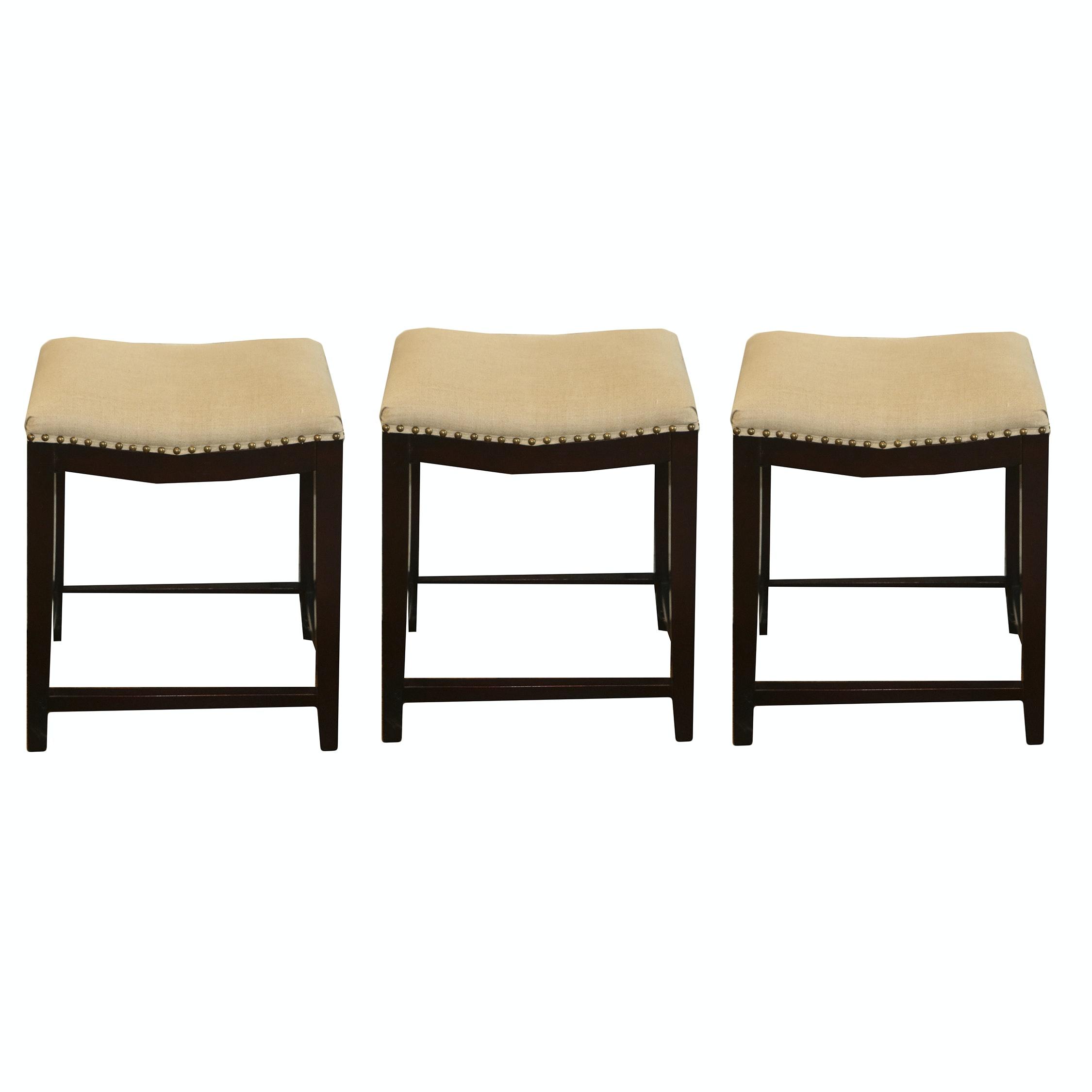 Upholstered Saddle Seat Stools, 21st Century
