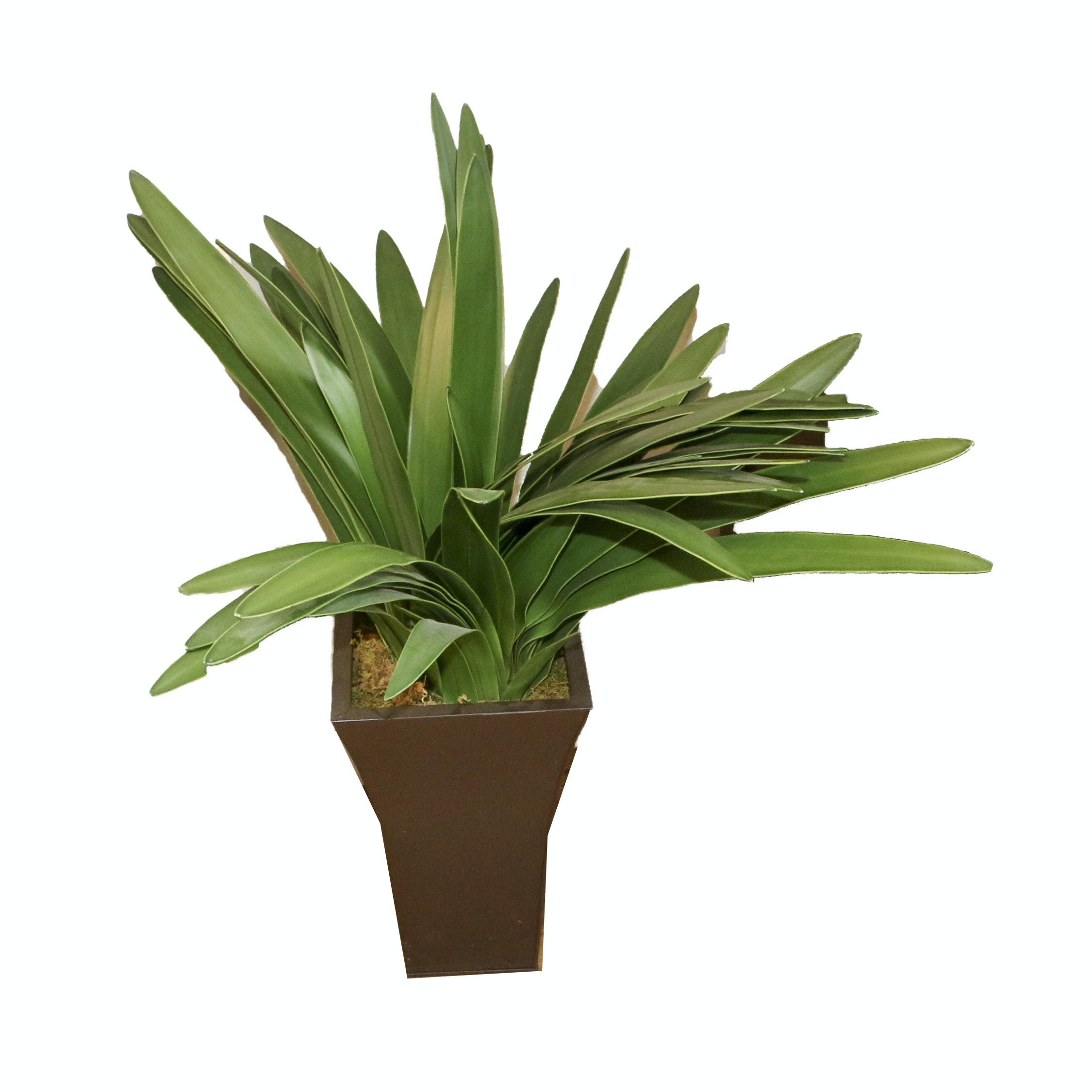 Metal Planter with Faux Plant