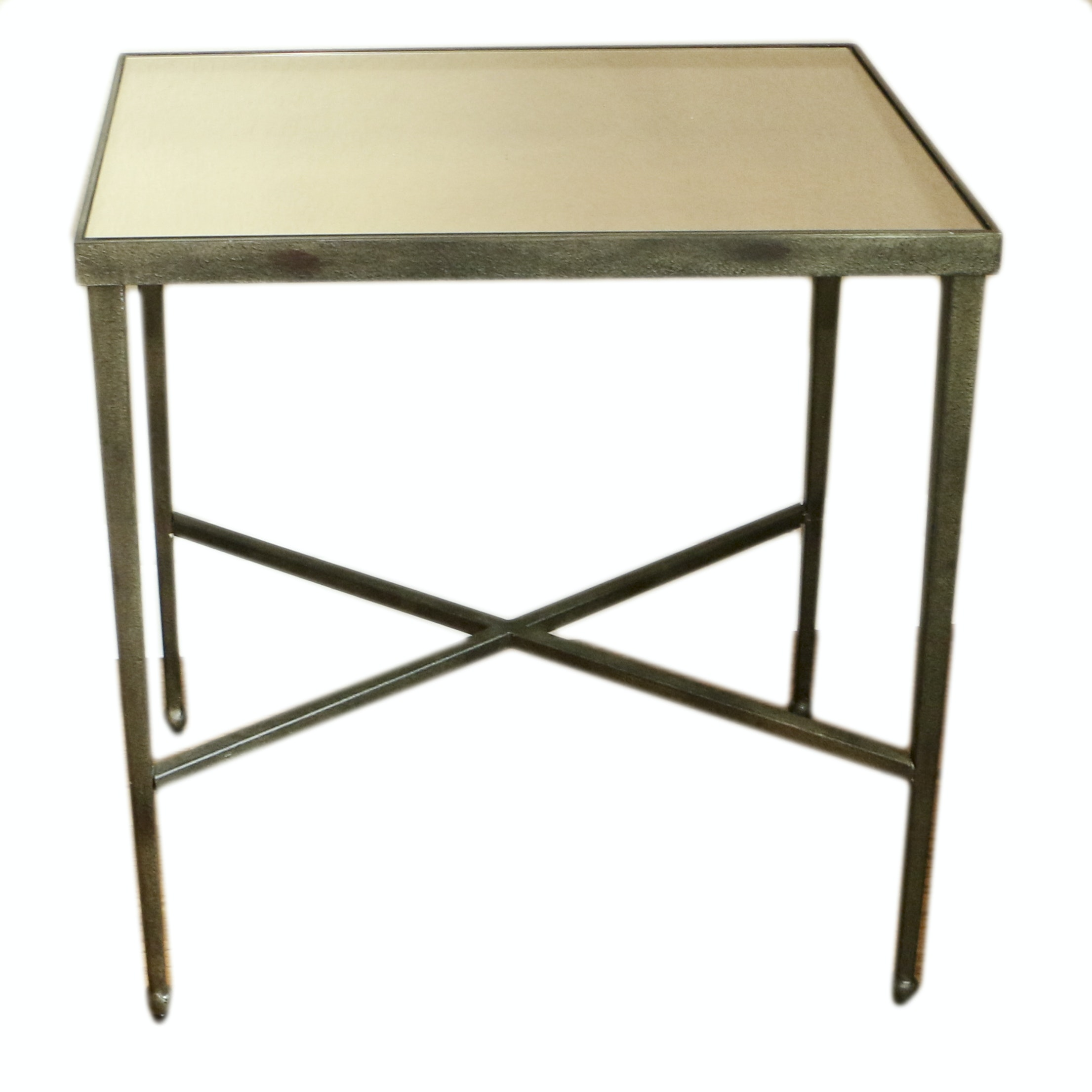 Mirrored Top Metal Side Table