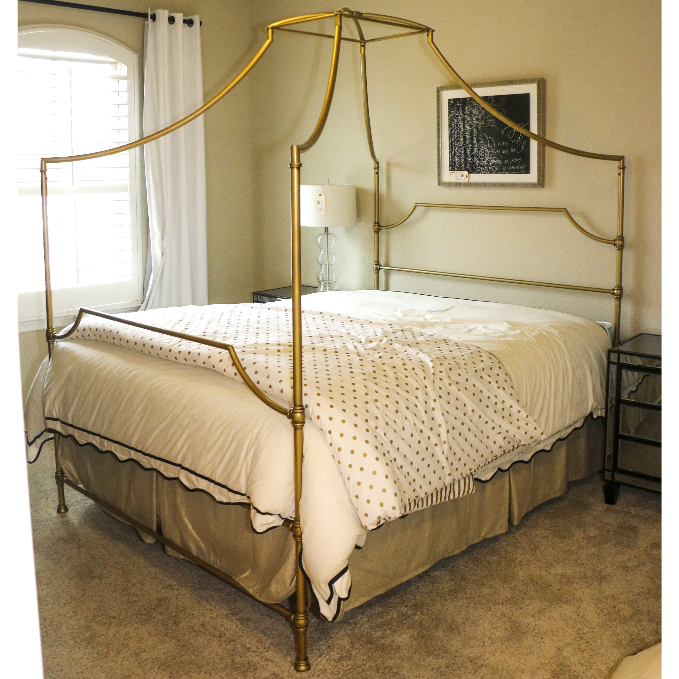 Hollywood Regency Style Gold Metal Queen Size Canopy Bed Frame, 21st Century