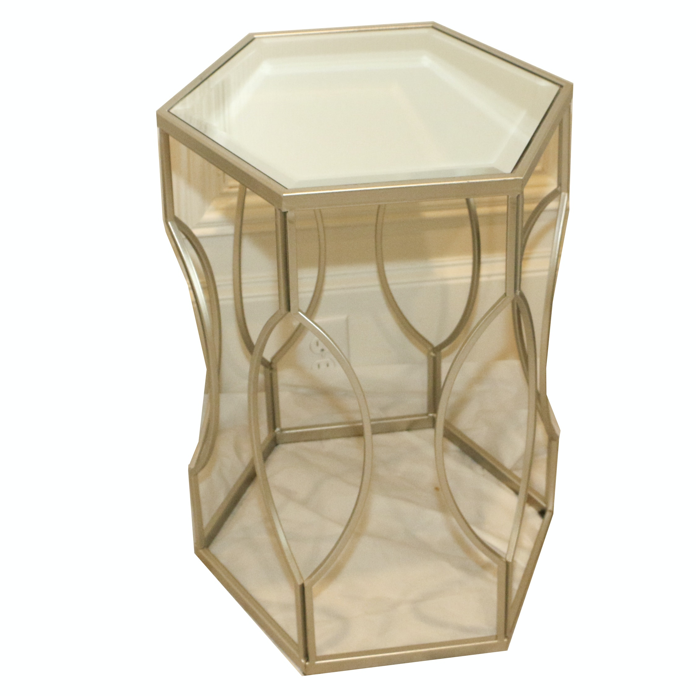 Mirror Top Hexagon Metal Side Table, 21st Century