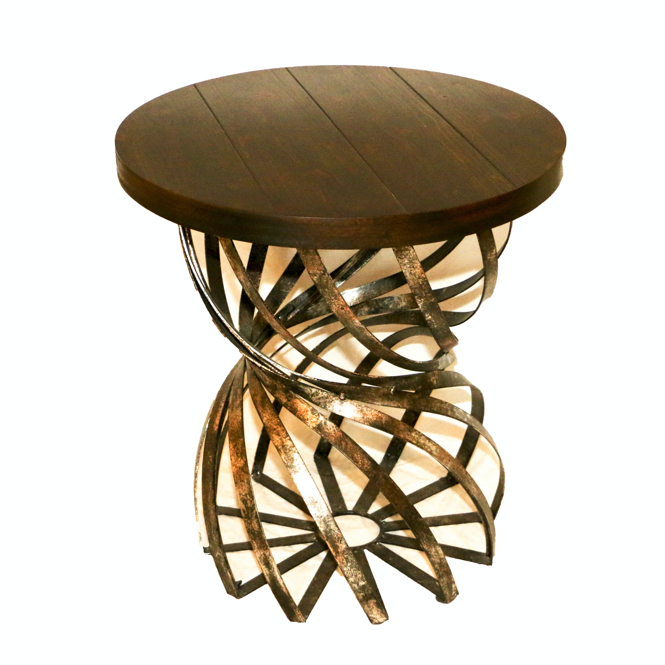 Metal Twisted Sphere Base Side Table, 21st Century