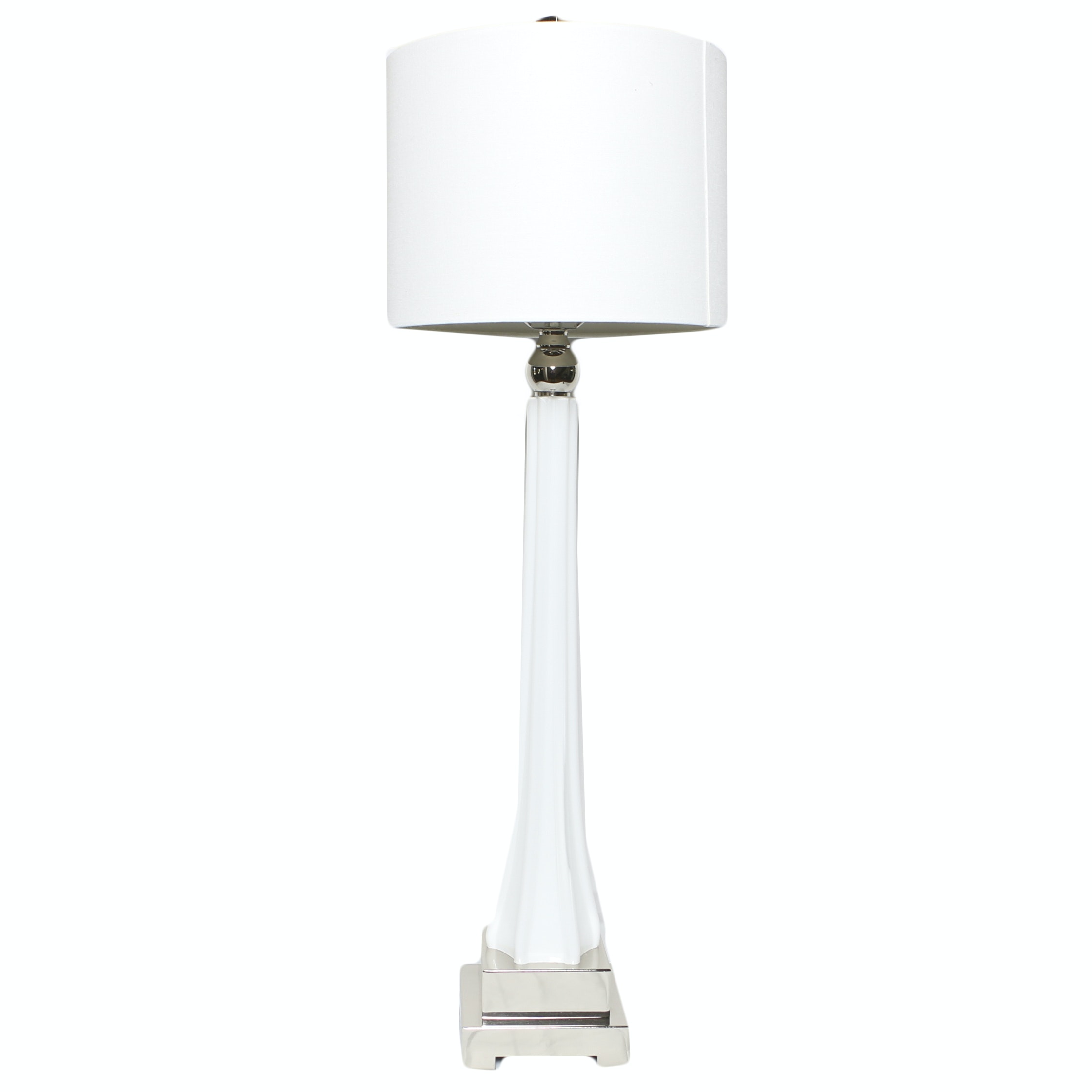 White Ceramic and Silver Metal Candlestick Style Table Lamp with Drum Shade