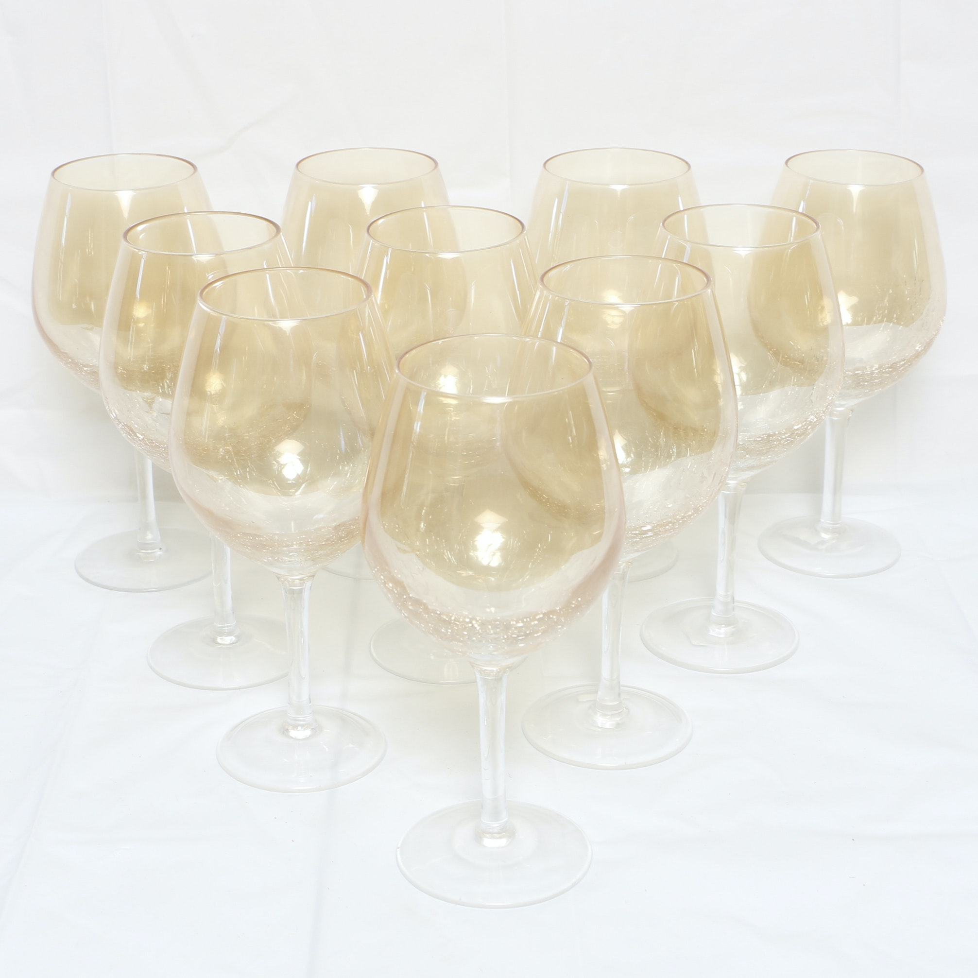 Stemmed Wine Glasses with Crackle Finish