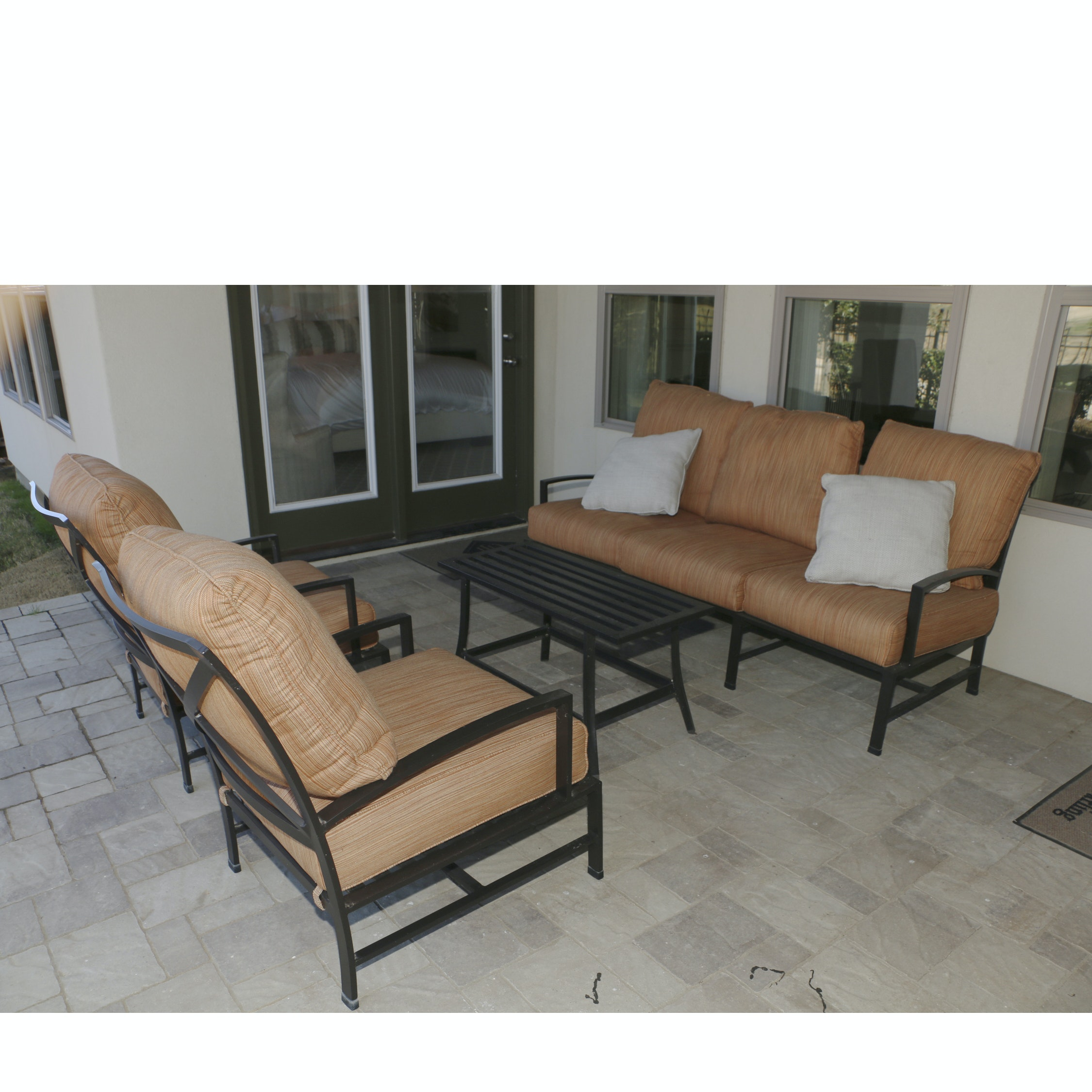 Metal Patio Sofa, Armchairs, and Table Set, 21st Century