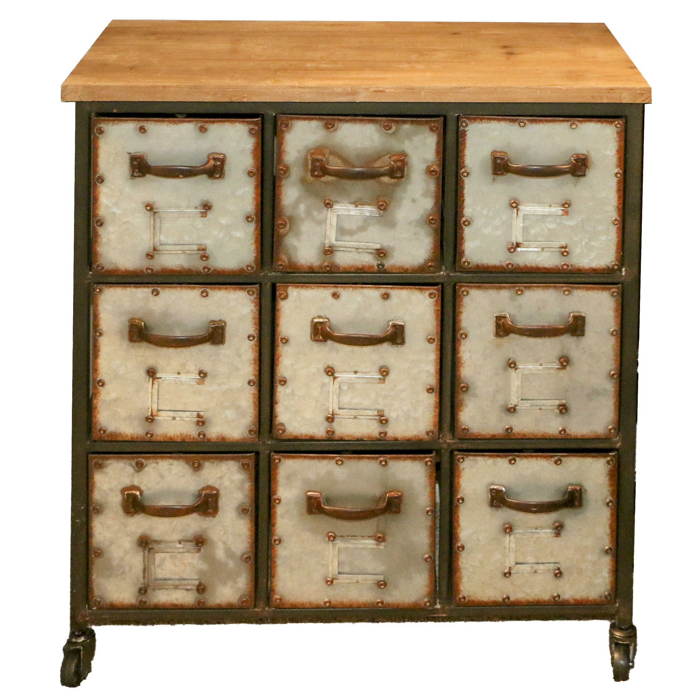Distressed Metal Apothecary Style Small Chest of Drawers, 21st Century