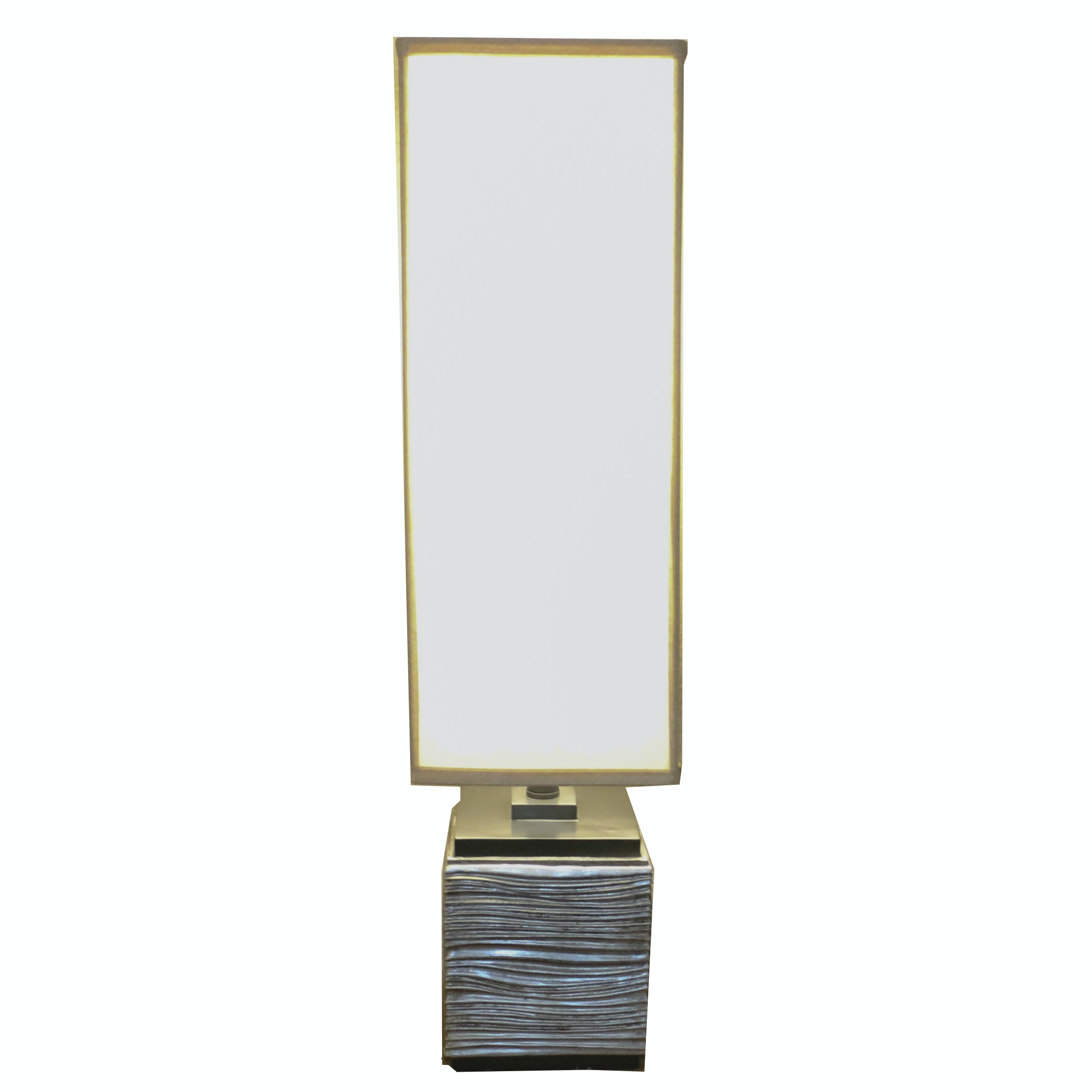 Contemporary Textured Resin Block Table Lamp with Tall Shade
