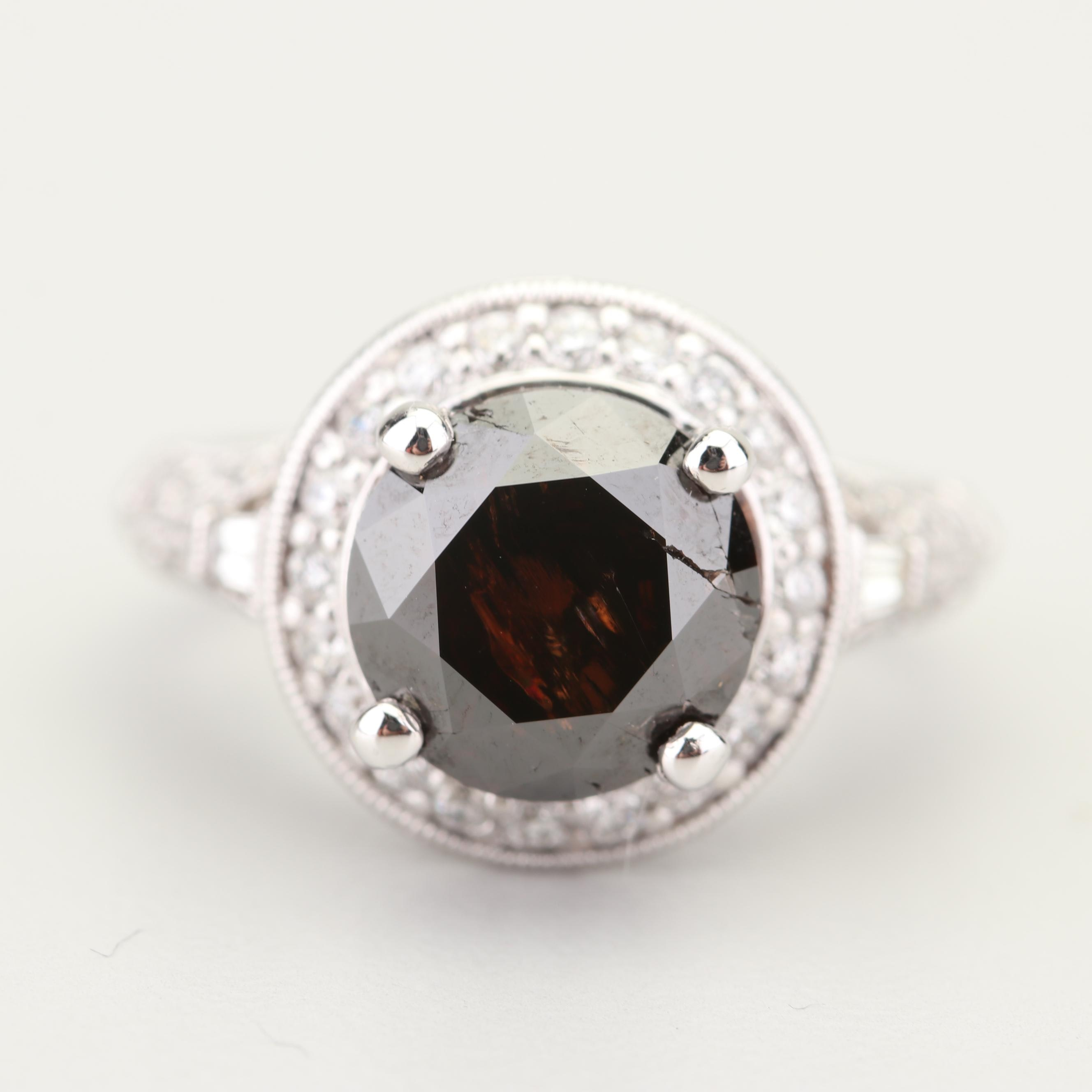 Parade 18K White Gold 3.27 CT Reddish Brown Diamond and Diamond Ring