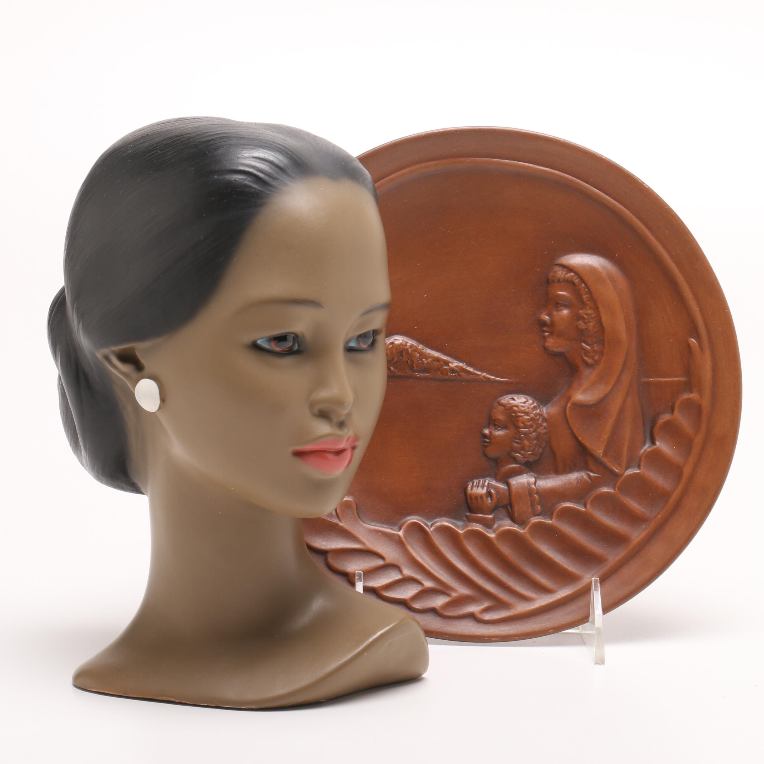 Chalkware Bust Attributed to Marwal and Signed Frankoma Pottery Plate