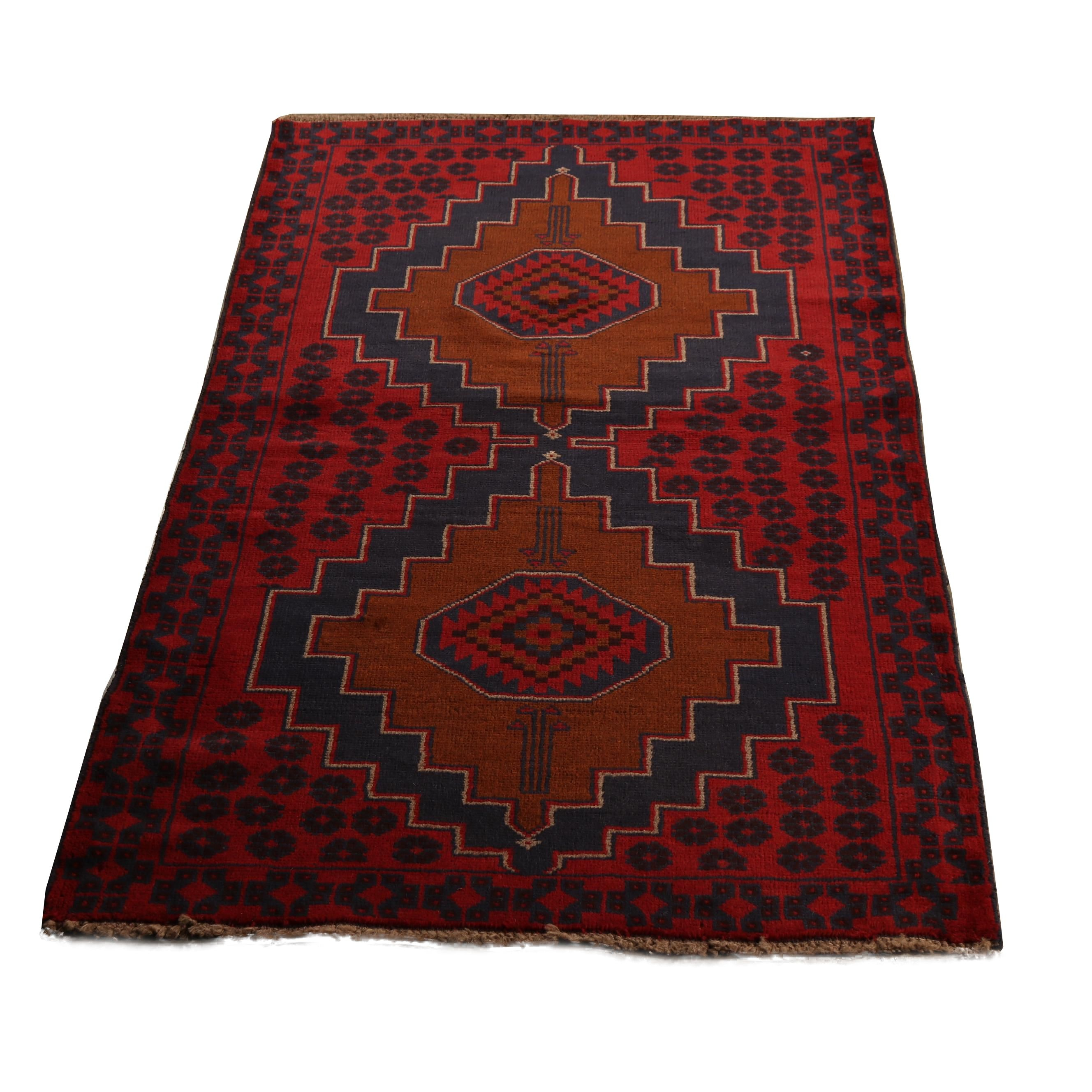 Hand-Knotted Pakistani Bahor Wool Long Rug