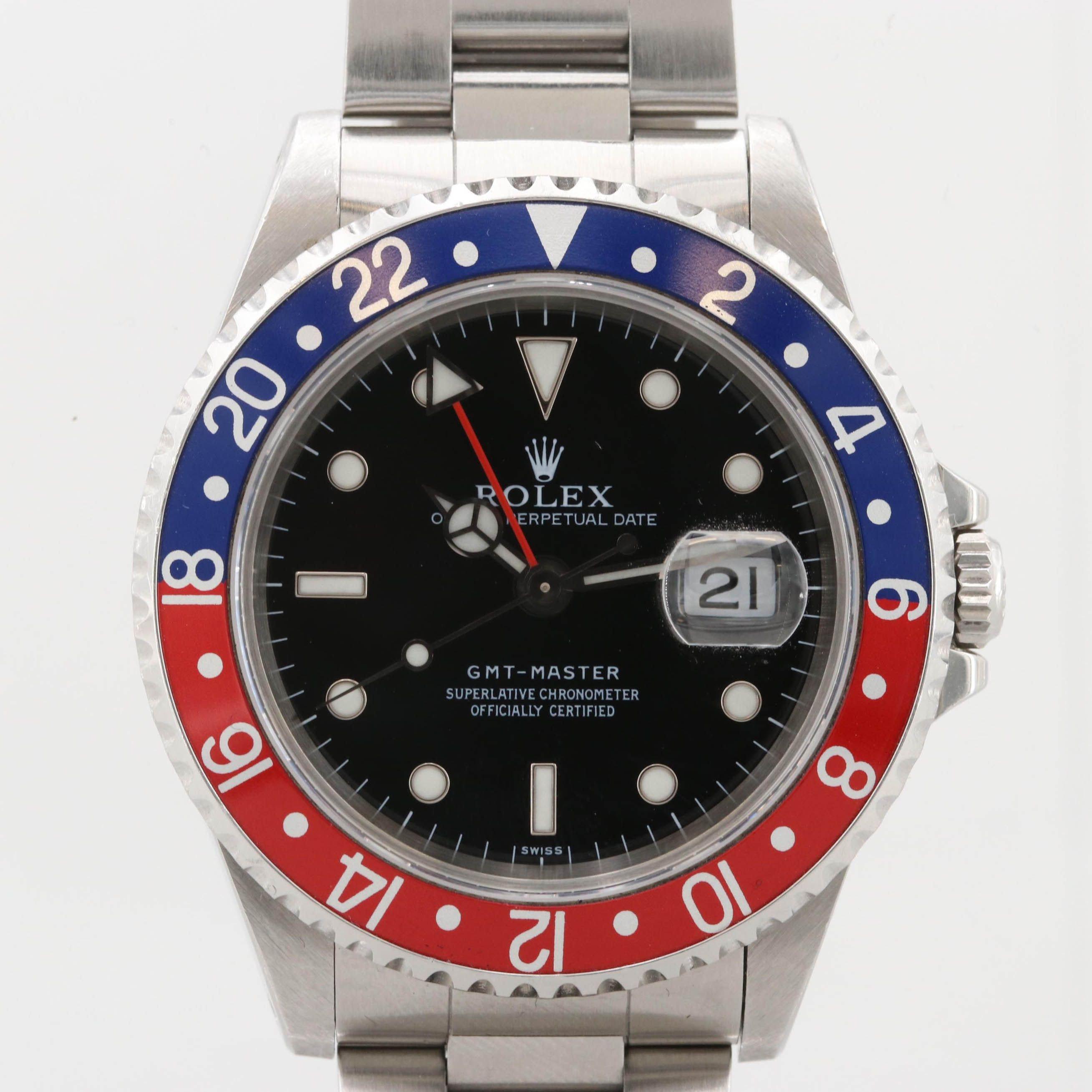 "Rolex GMT-Master ""Pepsi"" Bezel Stainless Steel Automatic Wristwatch"