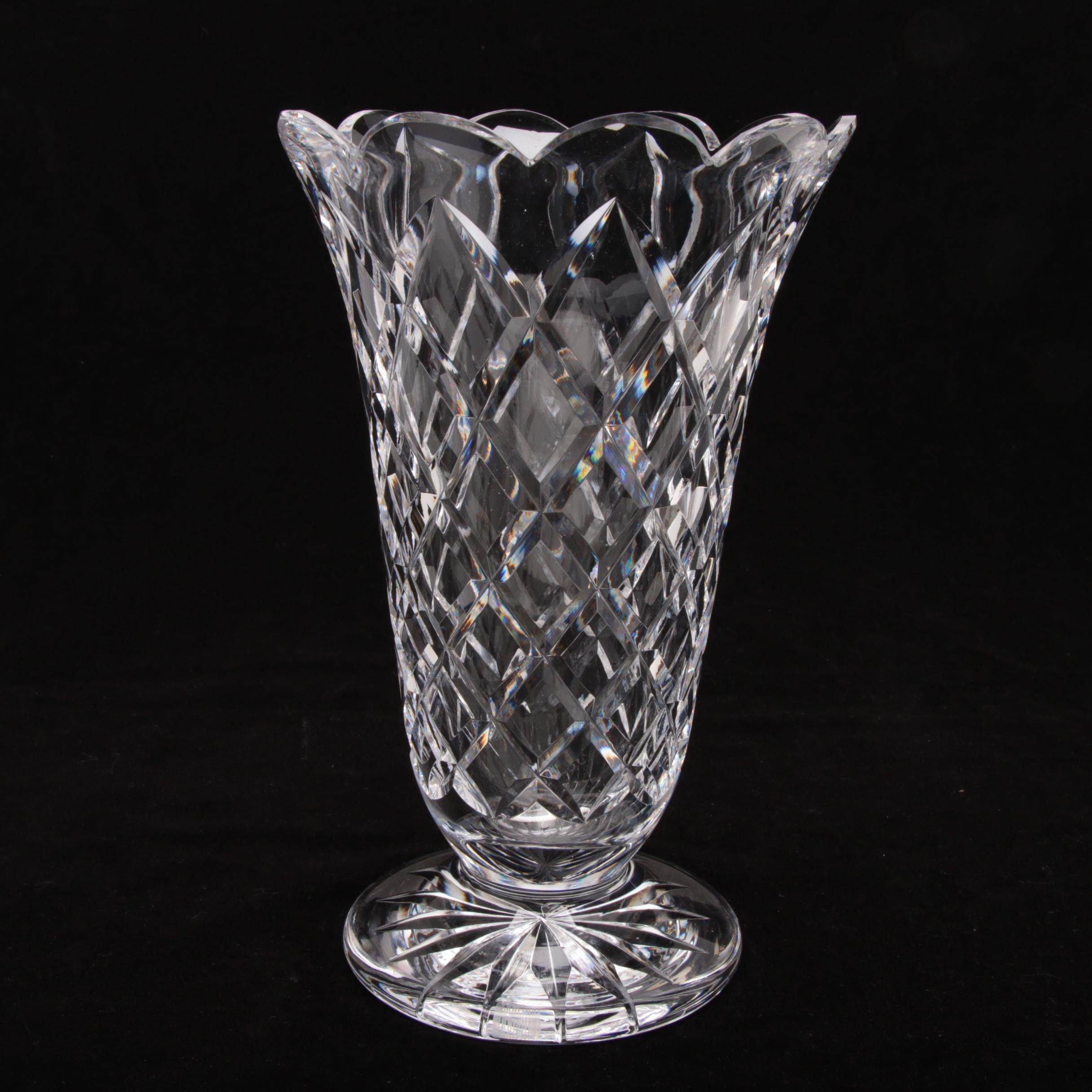 Waterford Crystal Diamond Cut Vase with Scalloped Rim and Footed Base