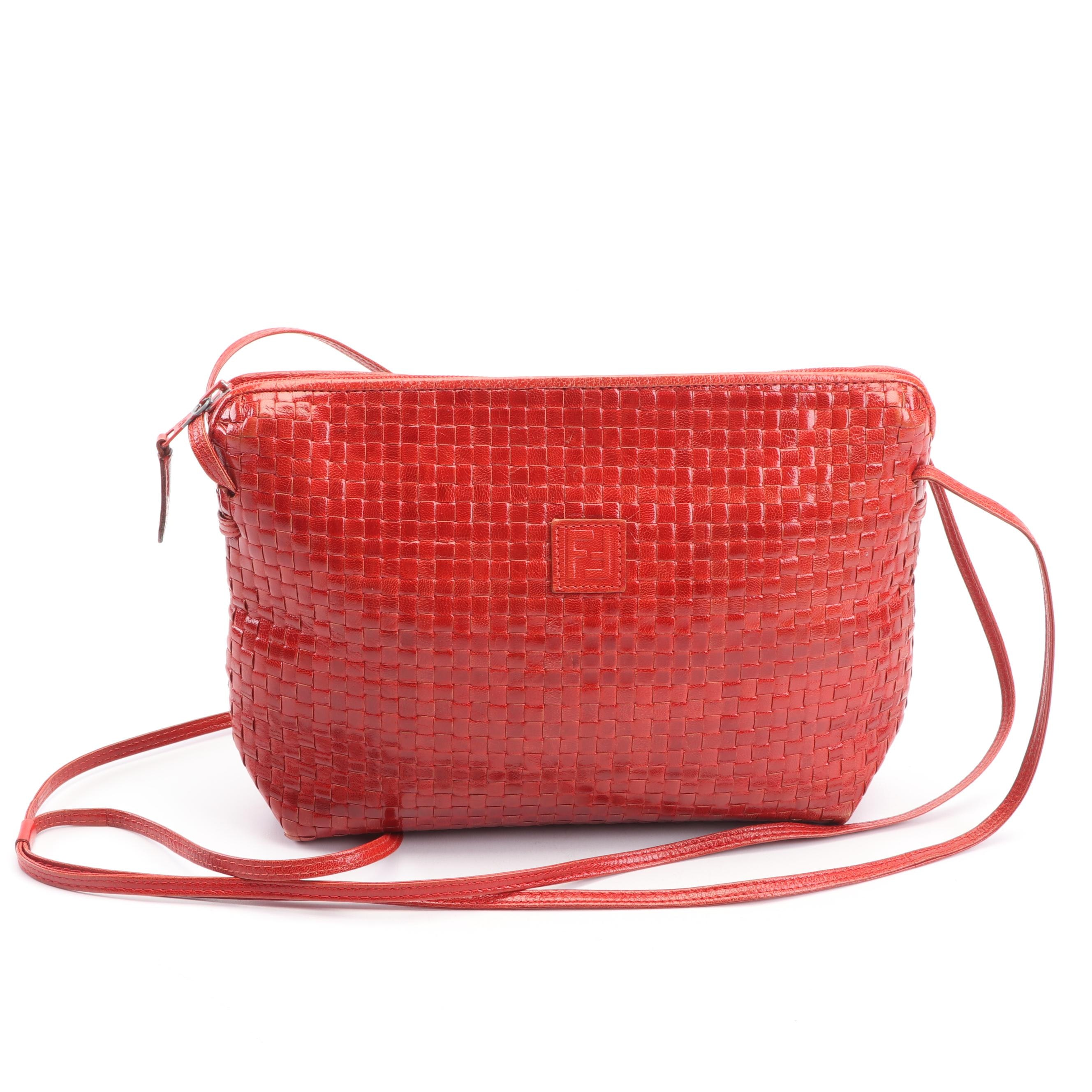Fendi Red Woven Leather Crossbody Bag, Made in Italy