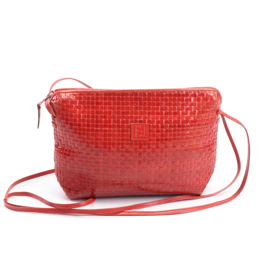 d730a443cd18 Fendi Red Woven Leather Crossbody Bag