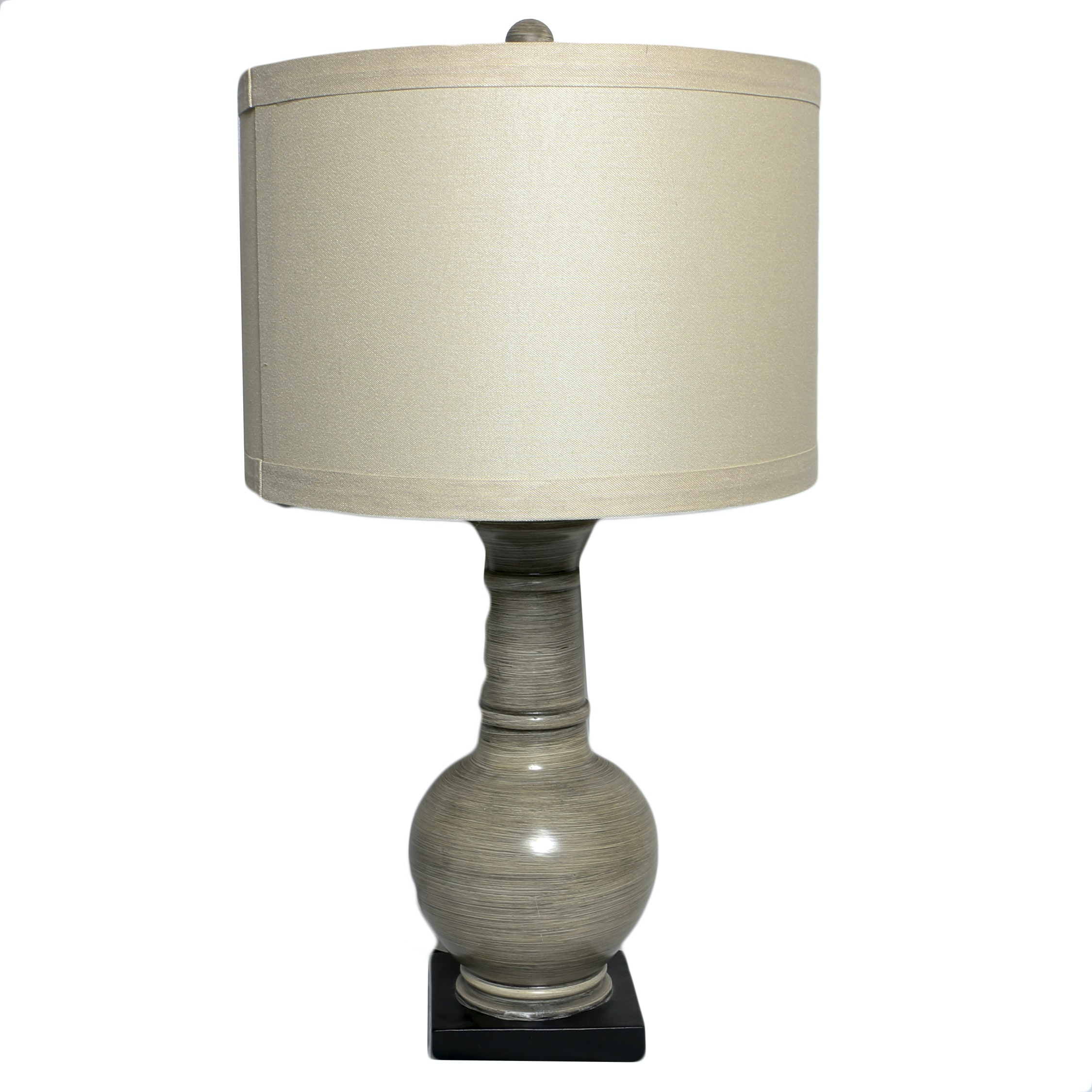 Antiqued Resin Vase Form Table Lamp with Drum Shade