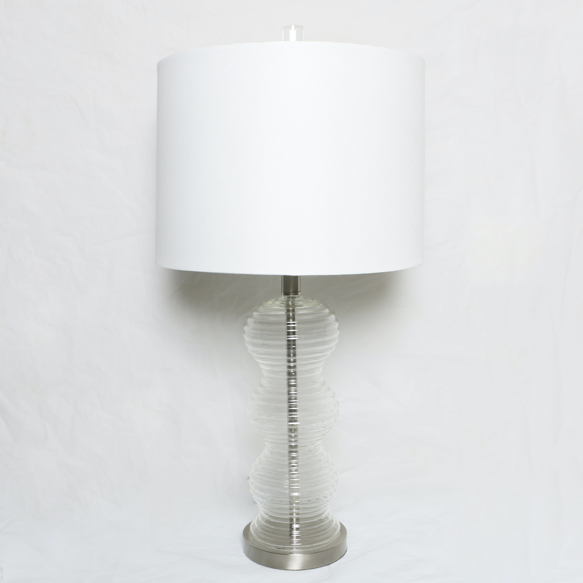Ribbed Undulating Glass Table Lamp with Drum Shade