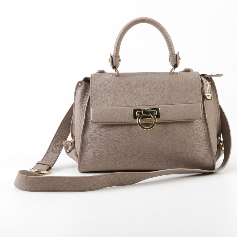 Salvatore Ferragamo Beige Pebbled Leather Sofia Bag 392da2c5bdcd4