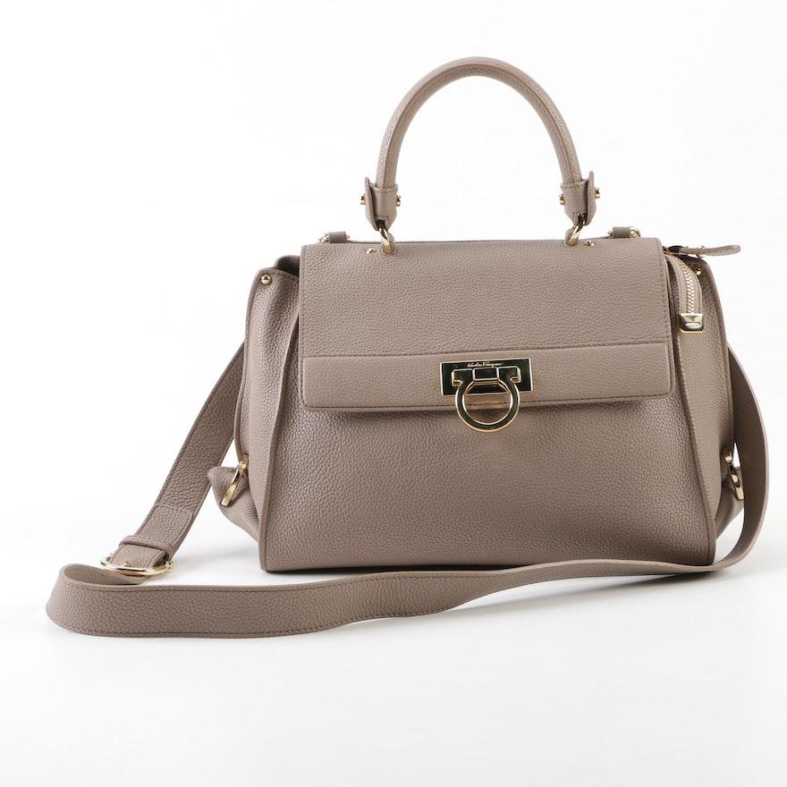0000121a22ed Salvatore Ferragamo Beige Pebbled Leather Sofia Bag, Made in Italy ...