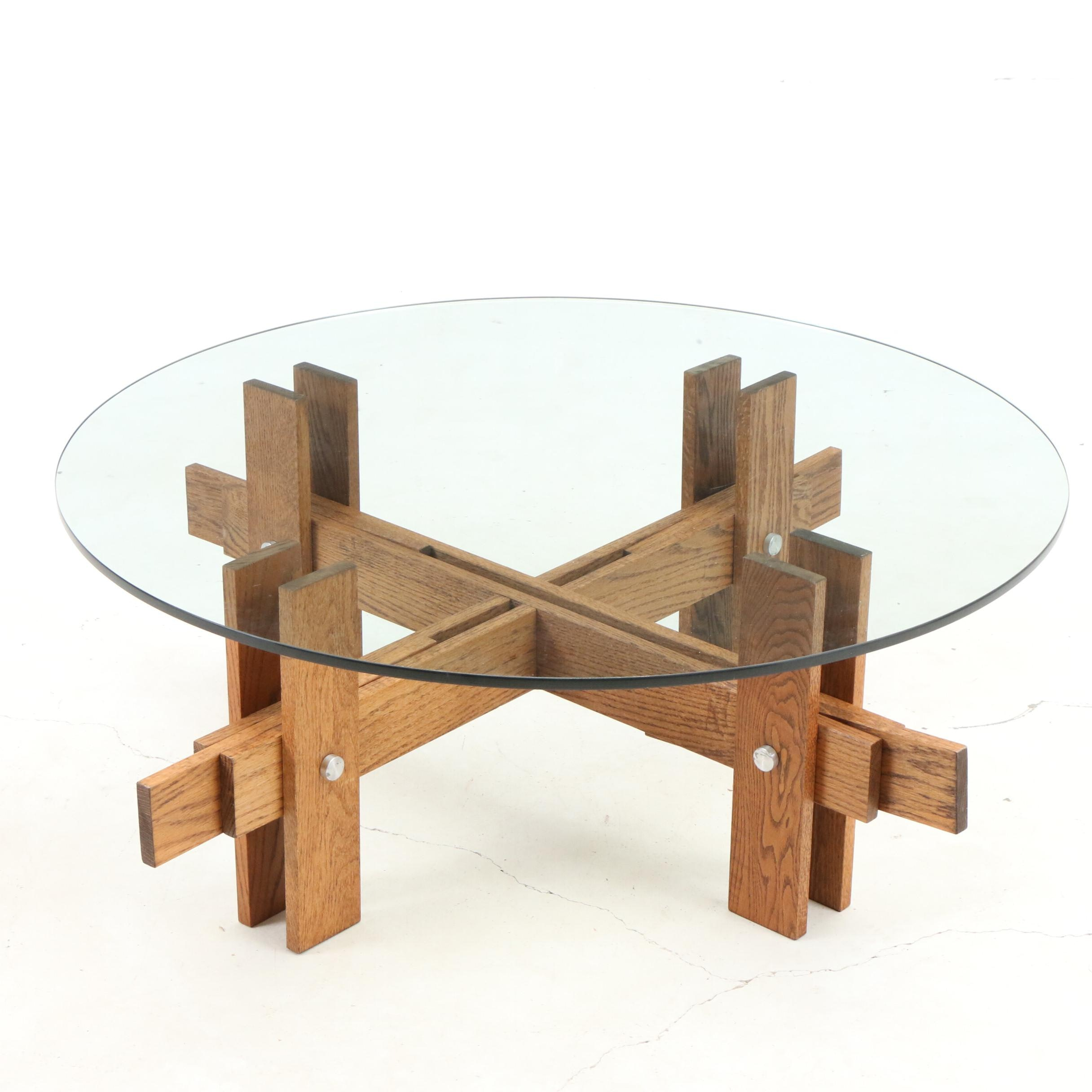 Modernist Oak and Glass Coffee Table