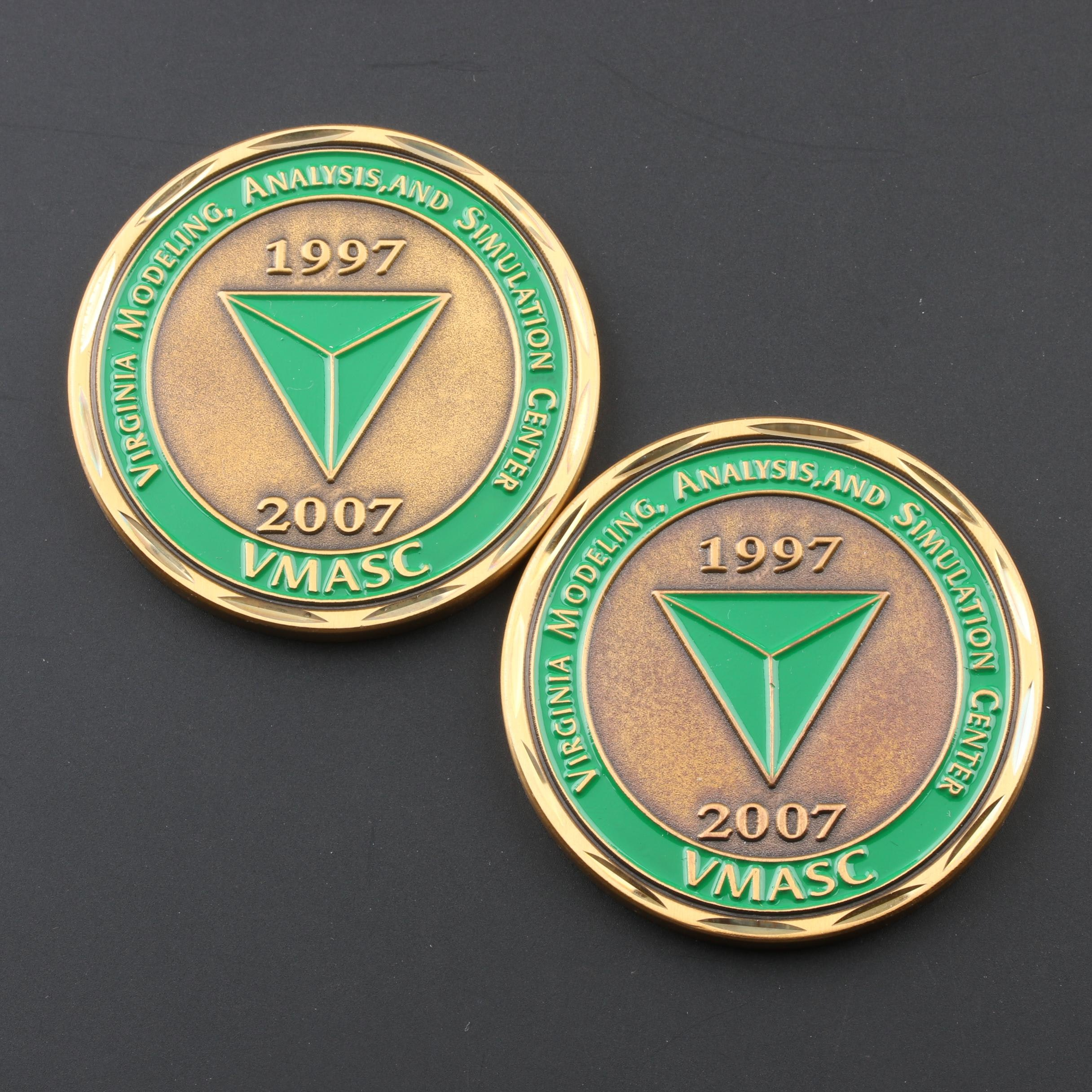 Group of Two VMASC 10 Year Commemorative Brass Medals