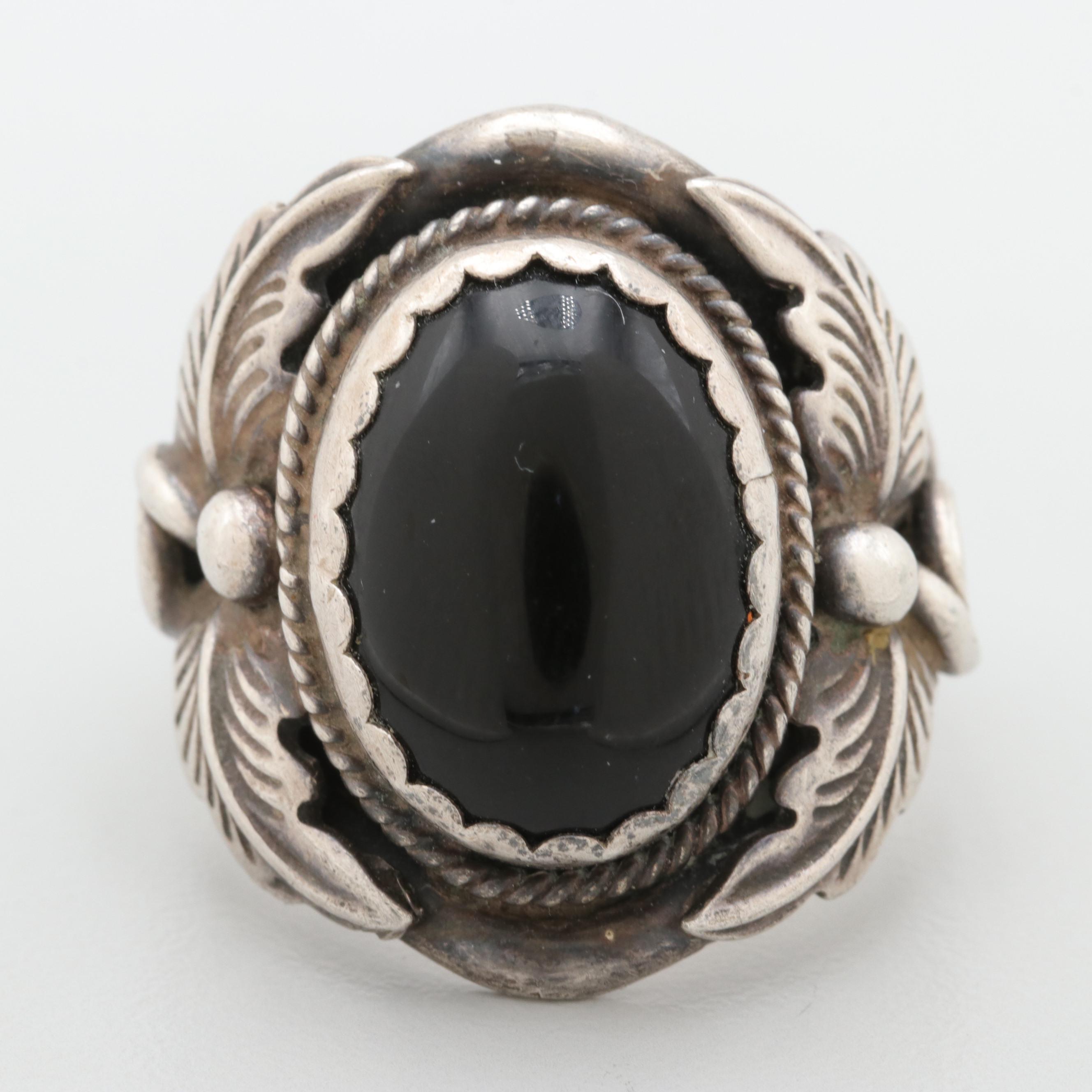 Southwestern Style Sterling Silver Black Onyx Ring