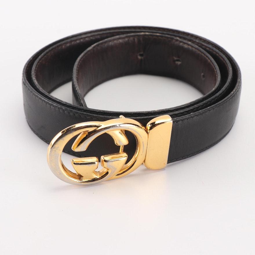 e15c59d09a6 Women s Gucci Reversible Black Brown Leather Belt