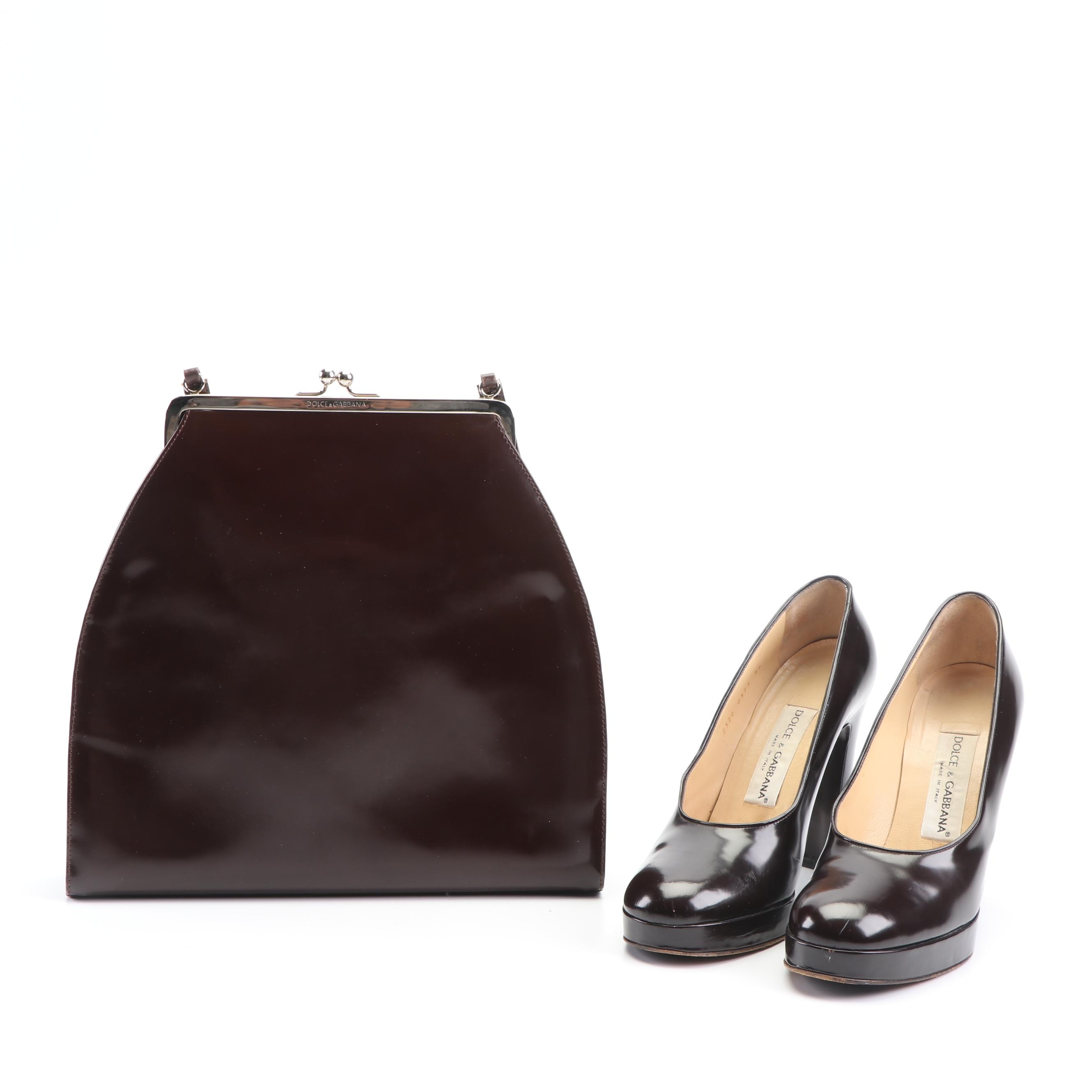 Dolce & Gabbana Brown Patent Leather Frame Bag and High-Heeled Shoes