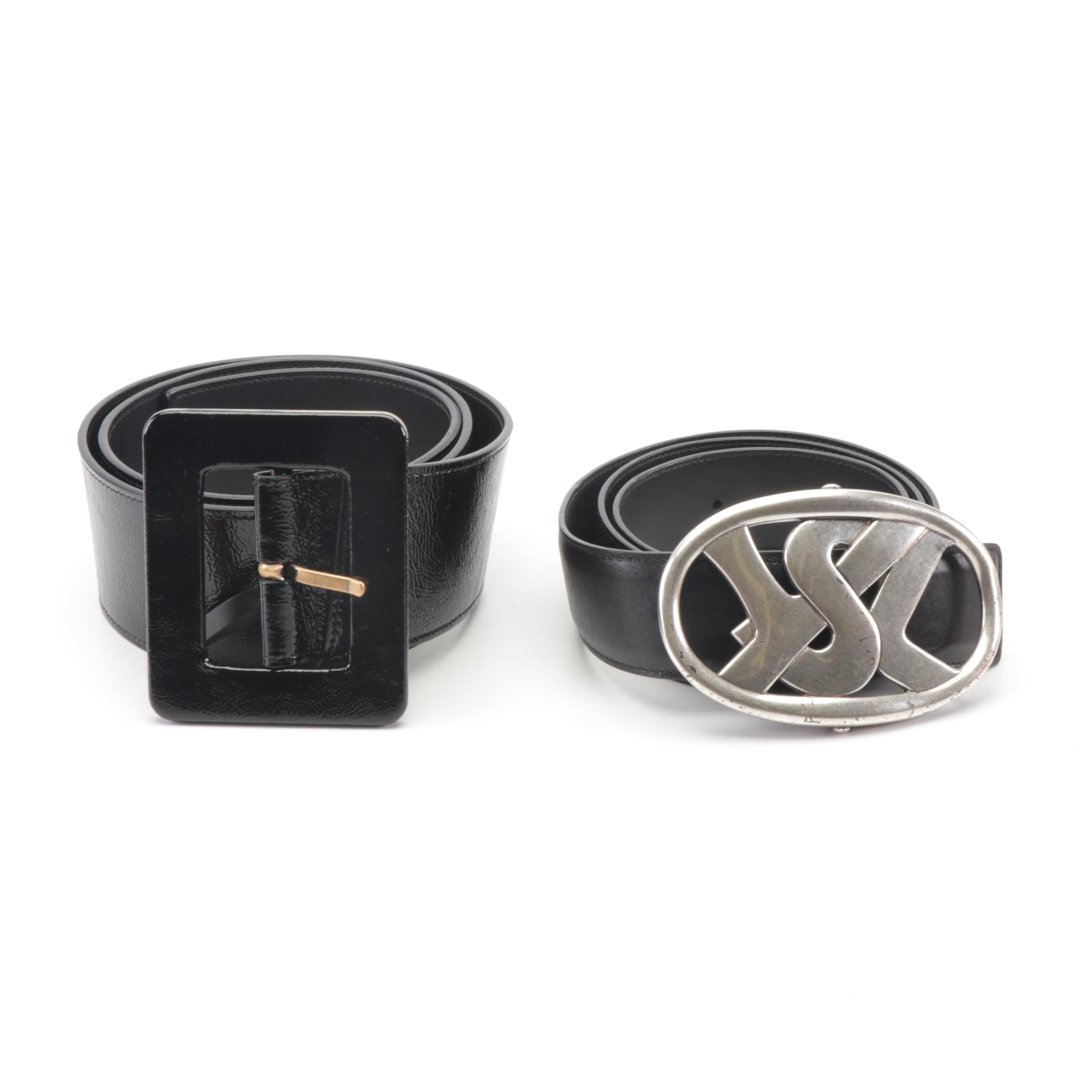 Yves Saint Laurent Black Leather Belts Featuring YSL Silver Tone Buckle