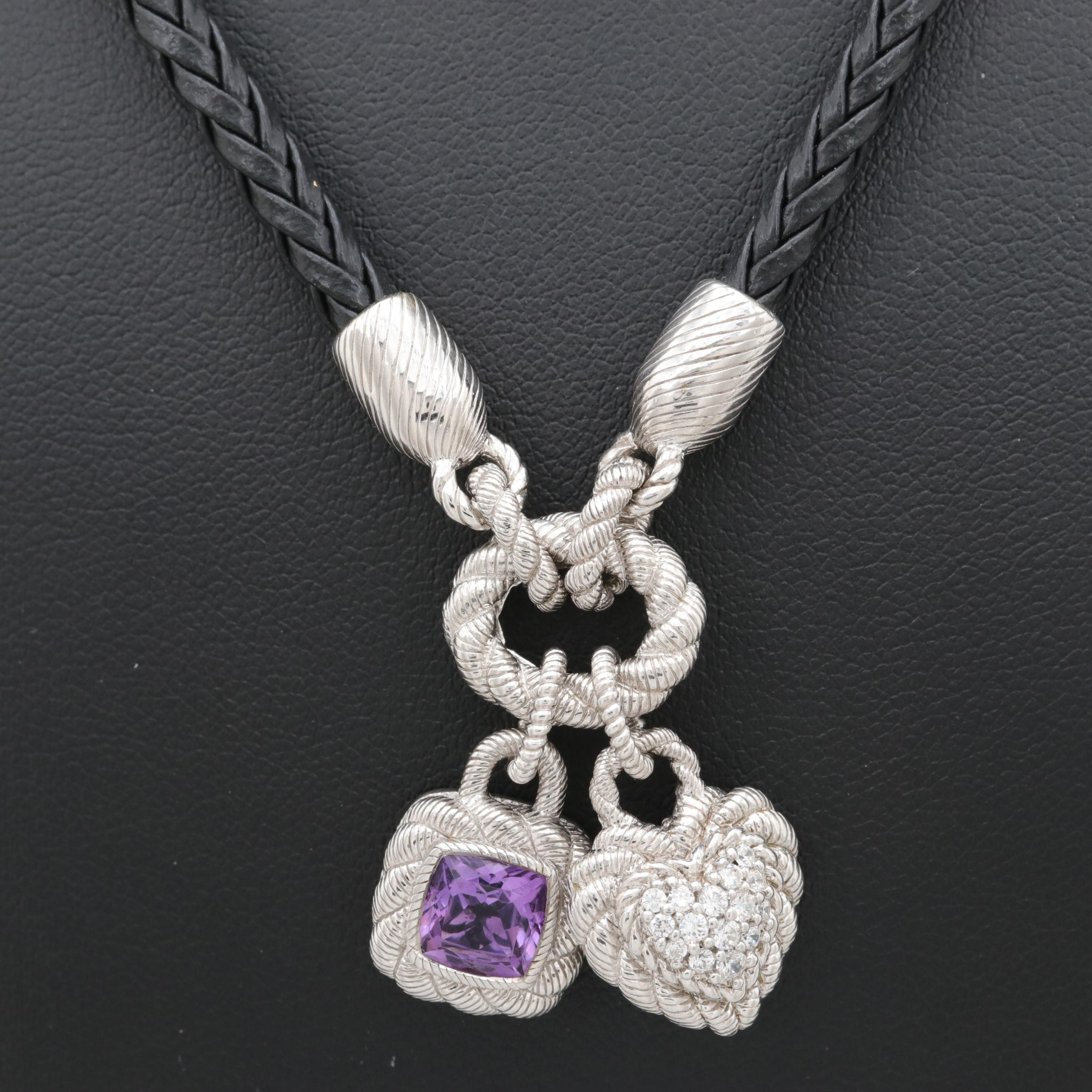 Sterling Silver Amethyst and Cubic Zirconia Charm Necklace