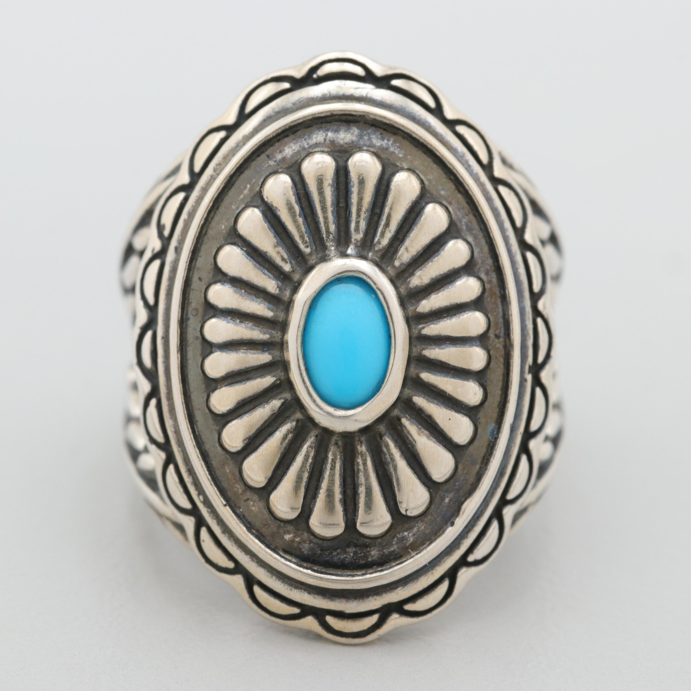 Southwestern Style Relios by Carolyn Pollack Sterling Silver Turquoise Ring