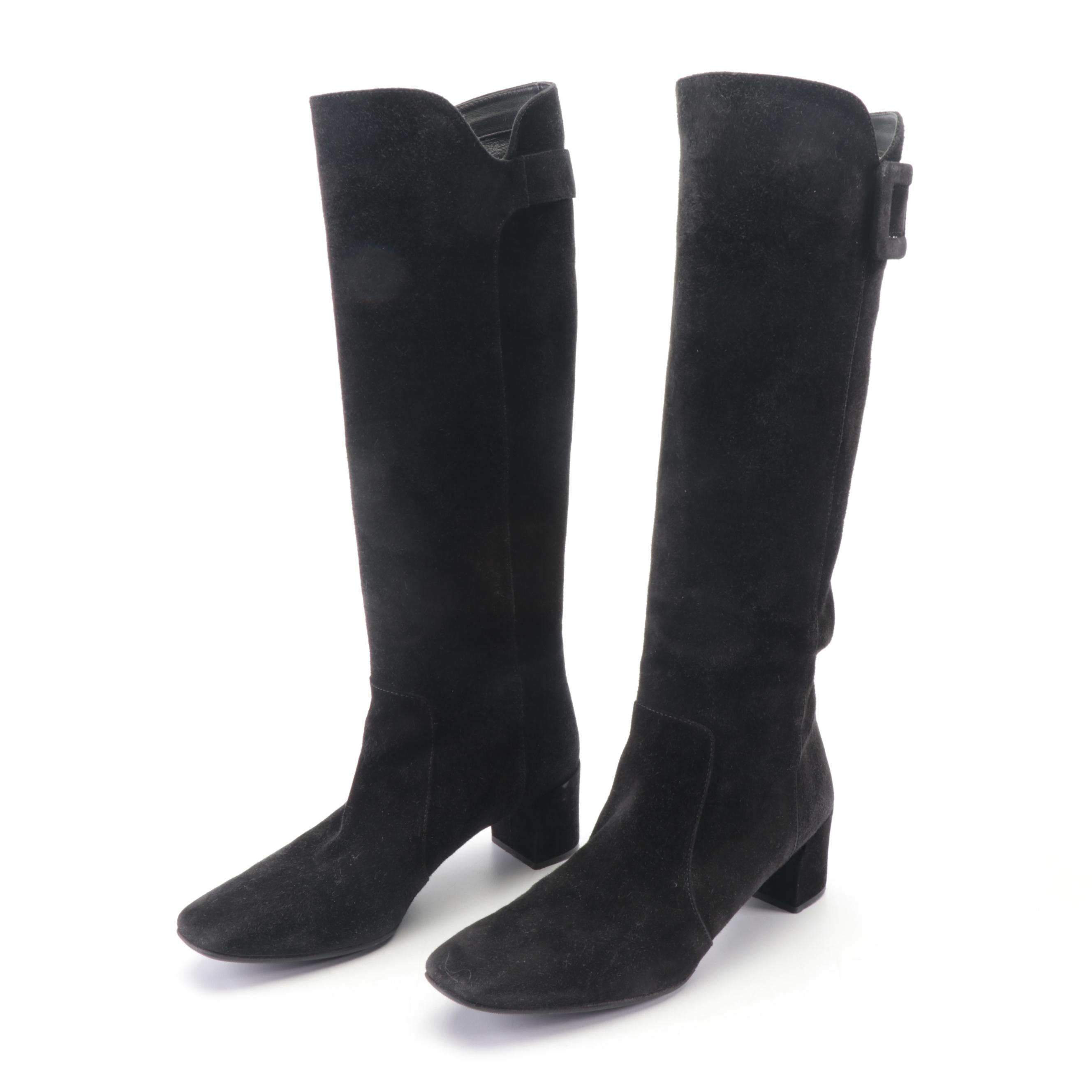 Roger Vivier Paris Black Suede Tall Boots