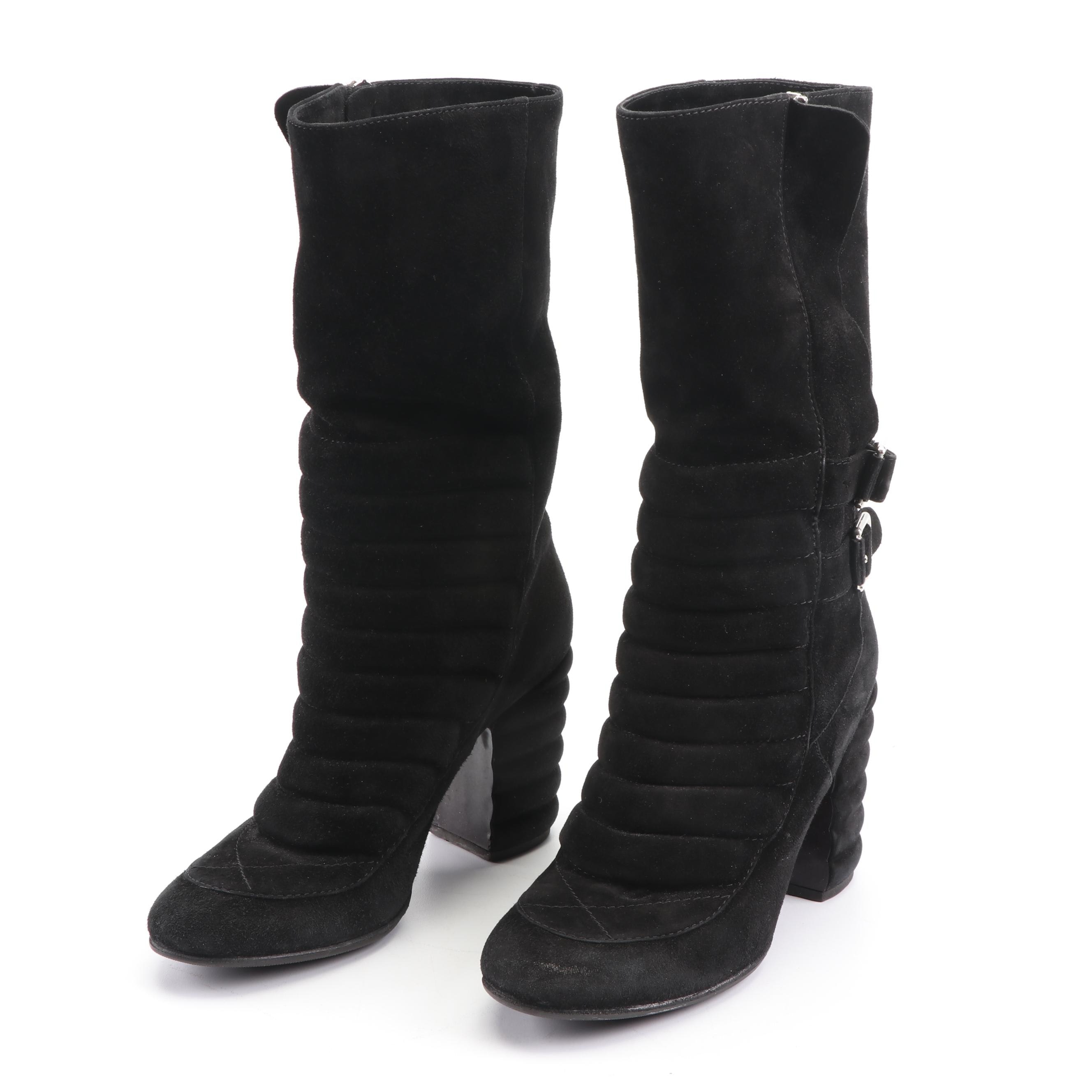 Laurence Dacade Paris Quilted Black Suede Boots with Buckle Straps