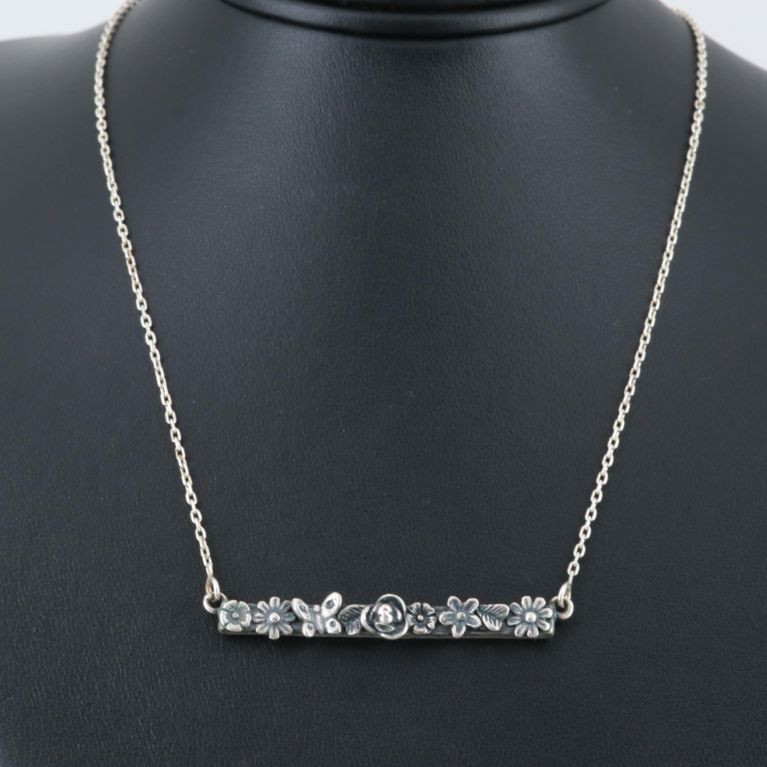 Sterling Silver Flower and Butterfly Bar Necklace