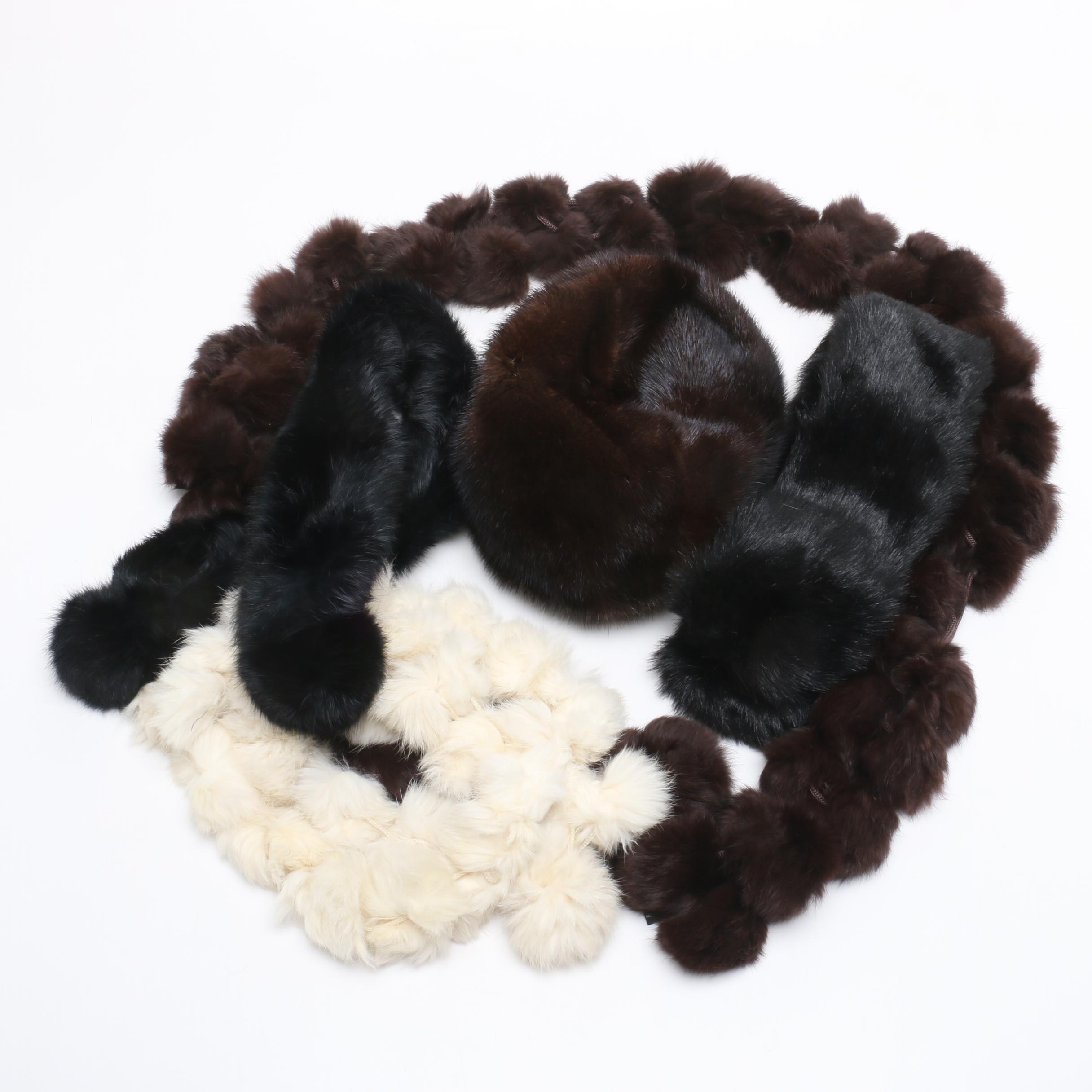 Mink Fur Hat, Rabbit Fur Scarves and Faux Fur Collar
