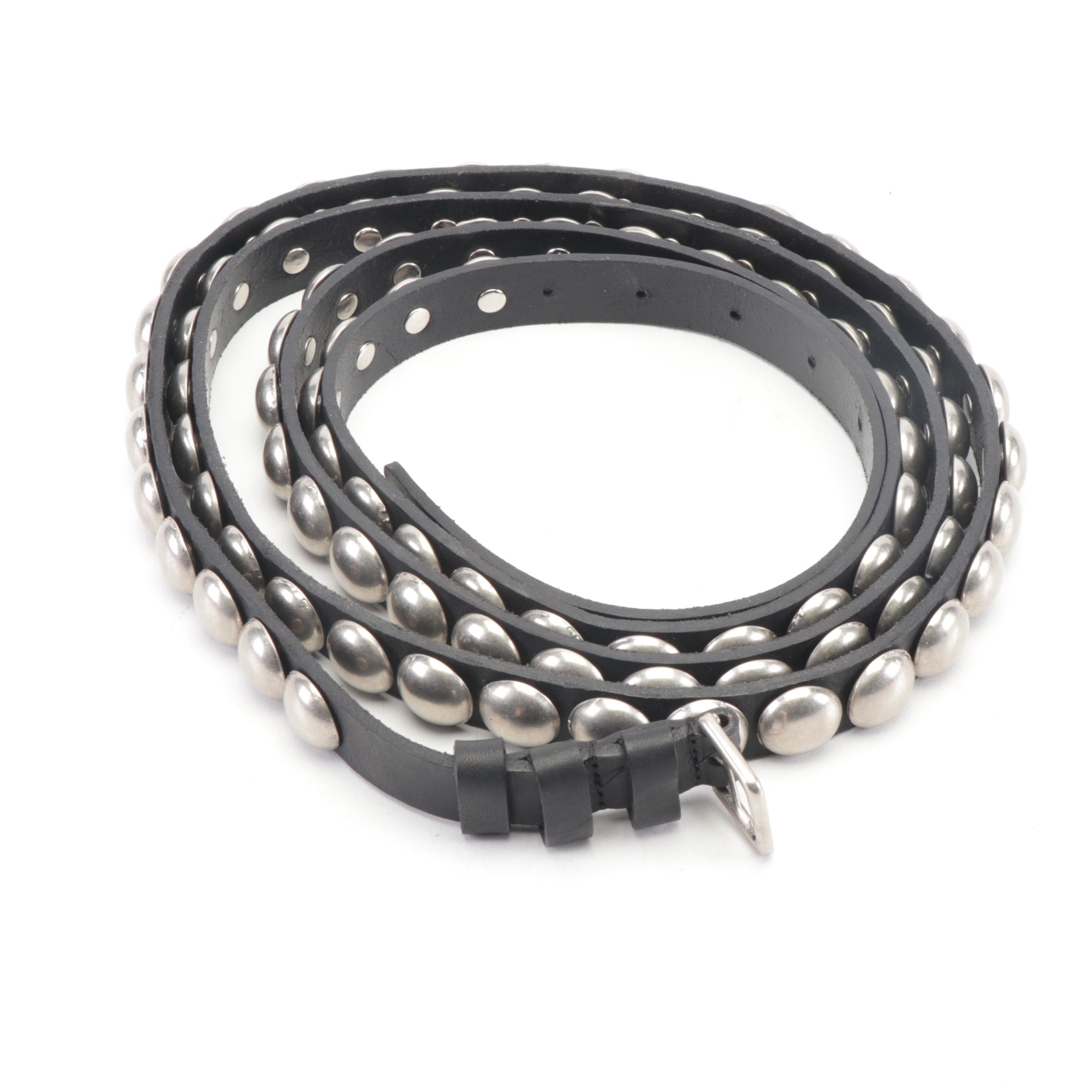 Ann Demeulemeester Studded Wrap Around Black Leather Belt, Made in Italy