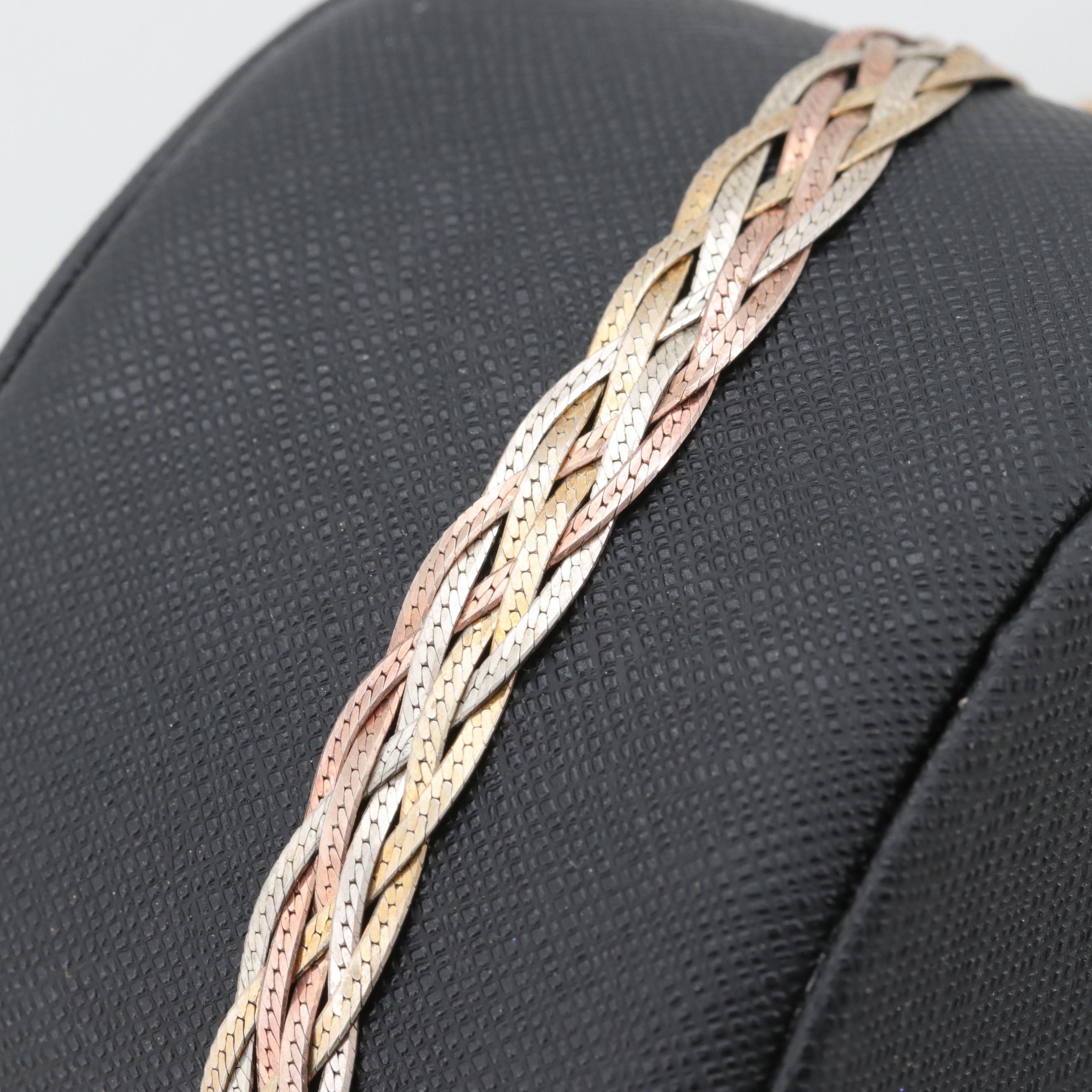 Tricolor Sterling Silver Braided Bracelet