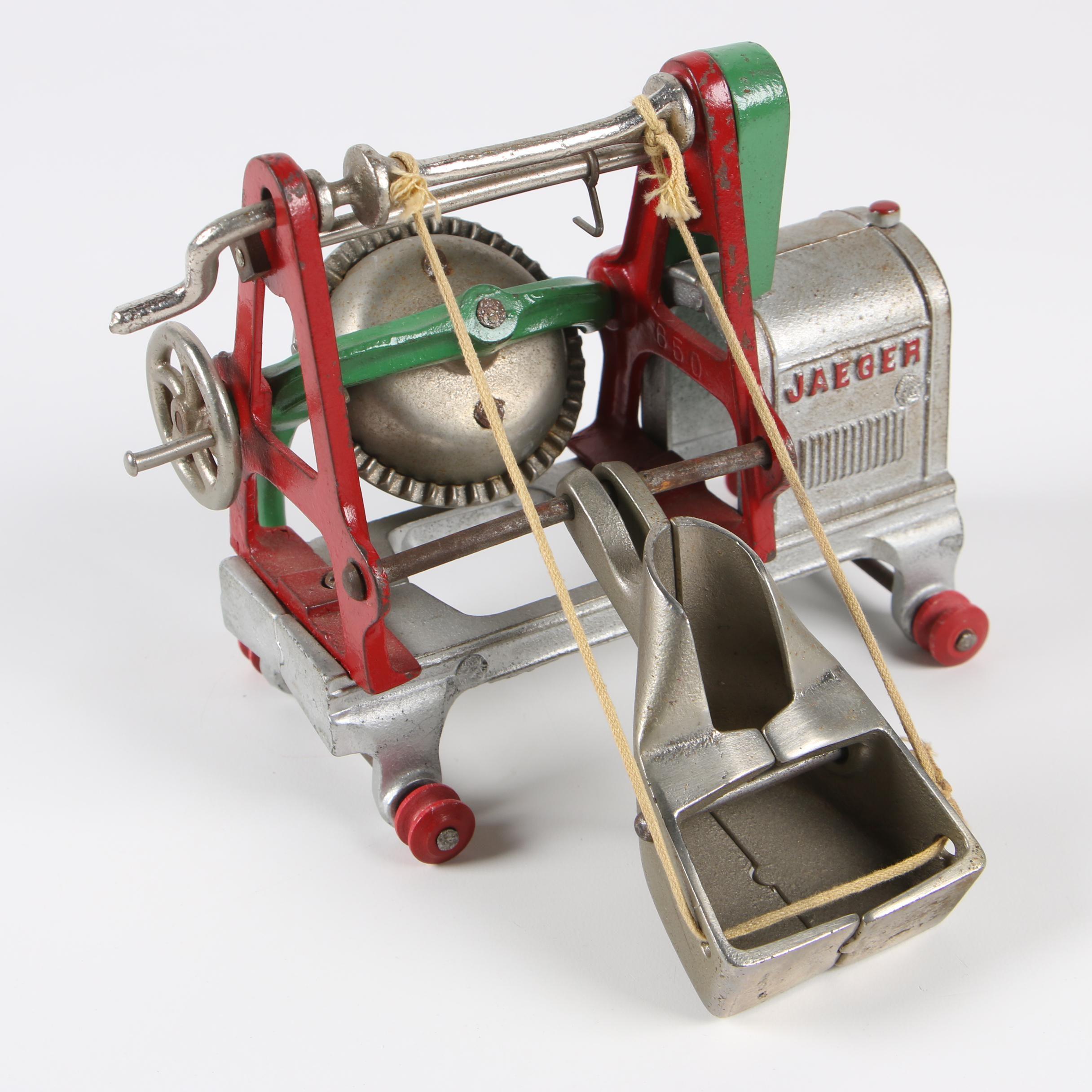 Kenton Toys Cast Iron Jaeger Cement Mixer, 1930s