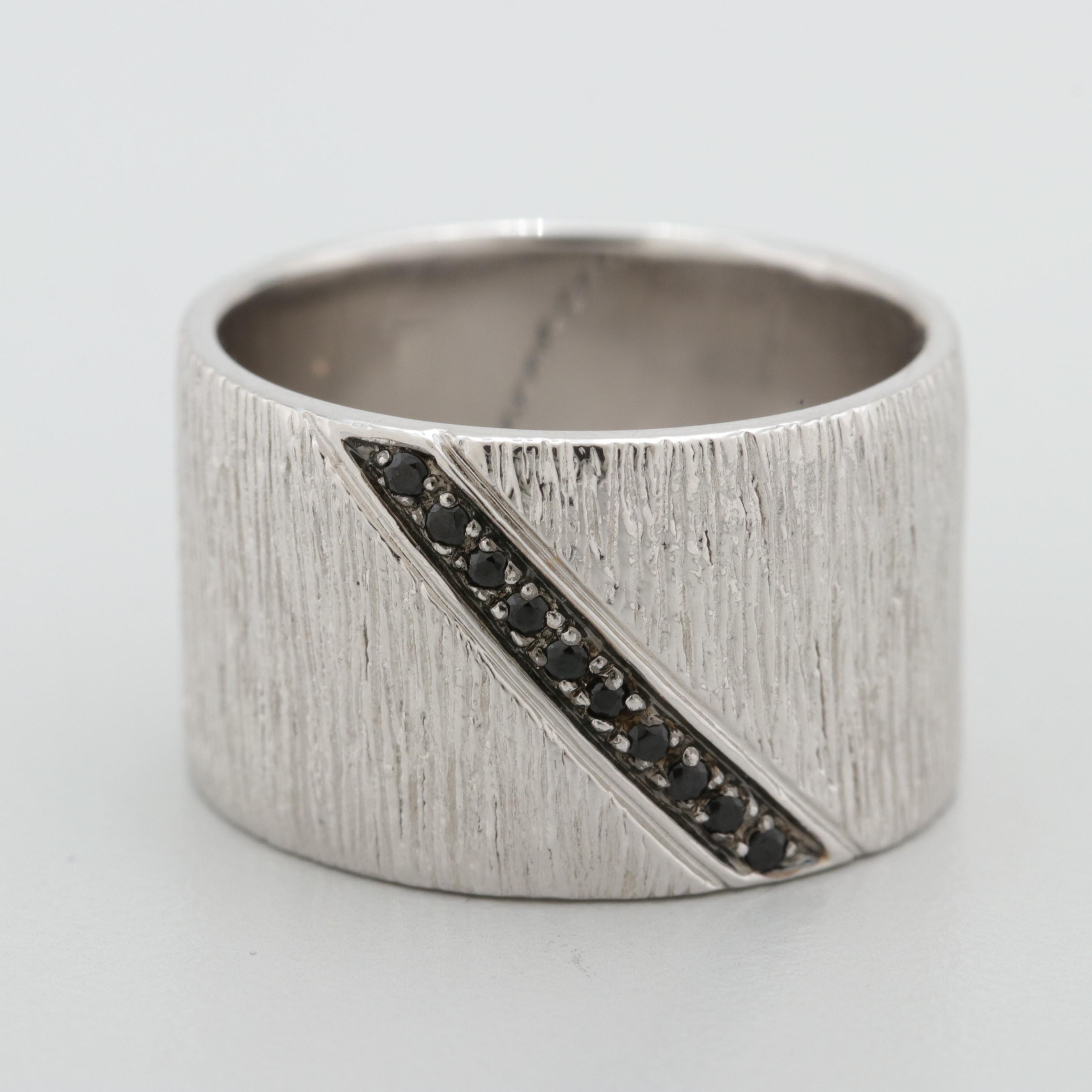 Sterling Silver Black Cubic Zirconia Textured Band