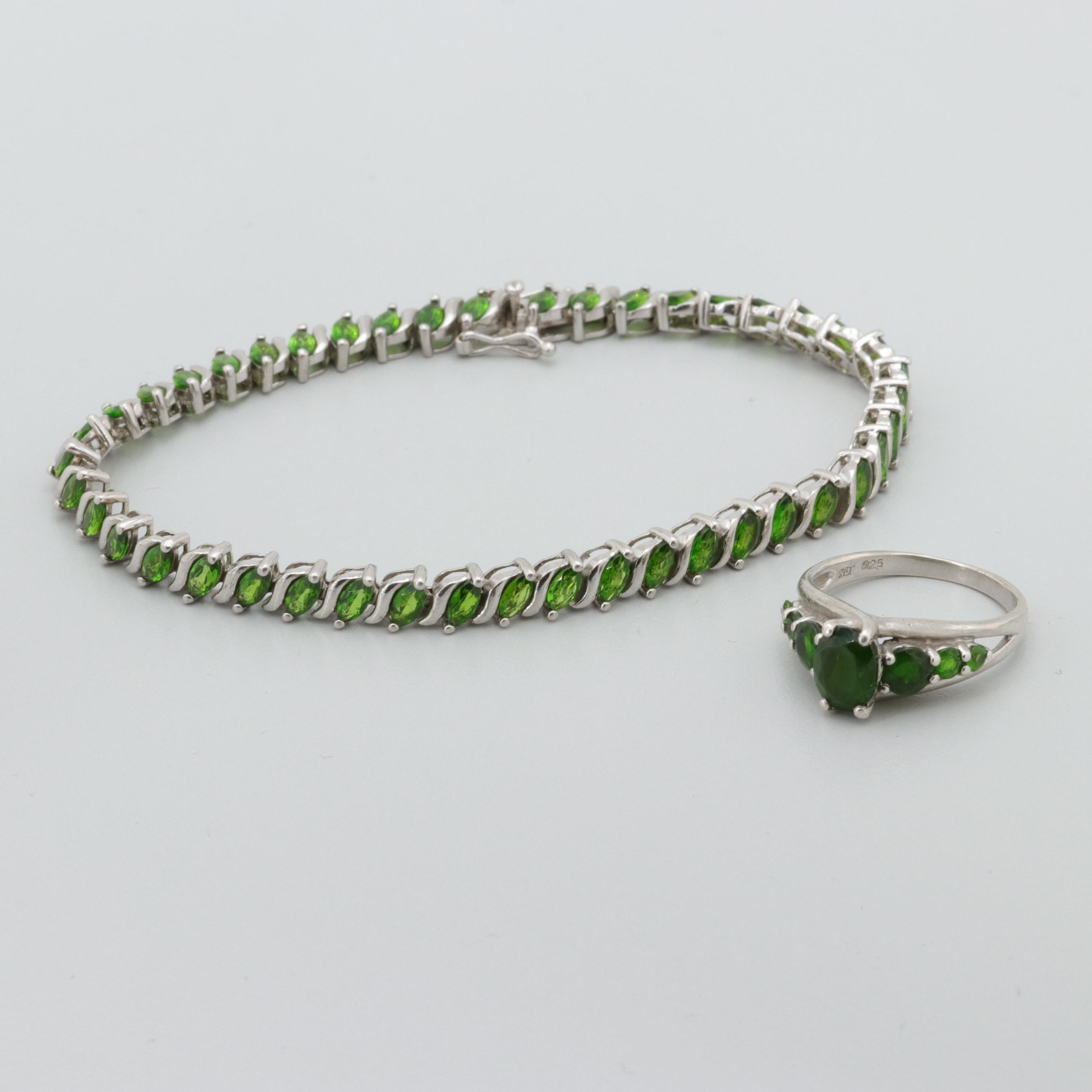Sterling Silver Chrome Diopside Bracelet and Ring