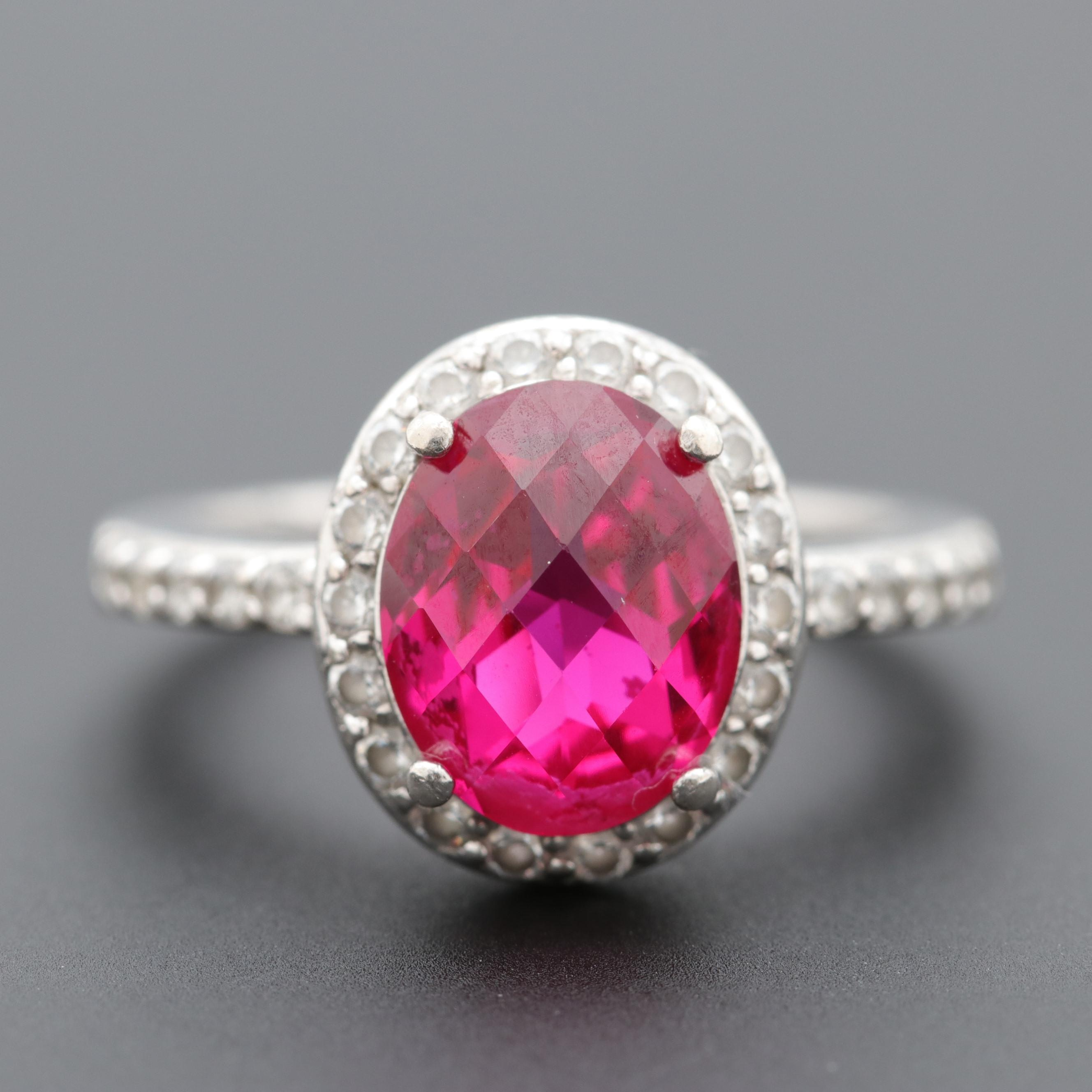 Sterling Silver Synthetic Ruby and Cubic Zirconia Ring