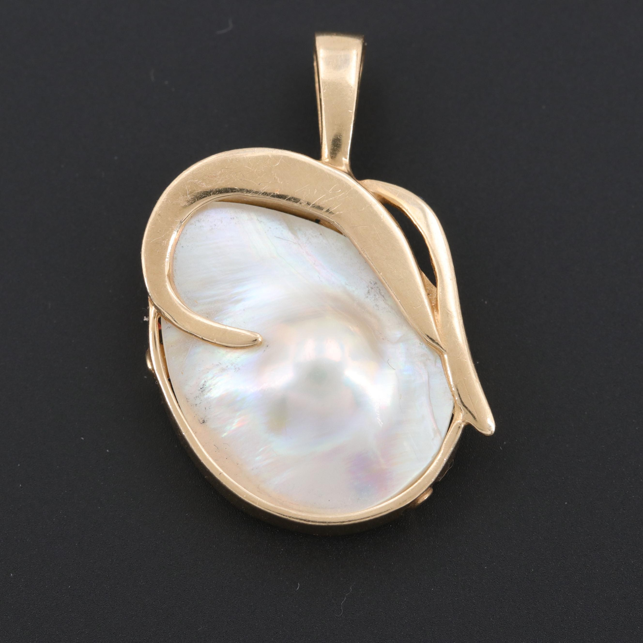 14K Yellow Gold Cultured Blister Pearl Pendant