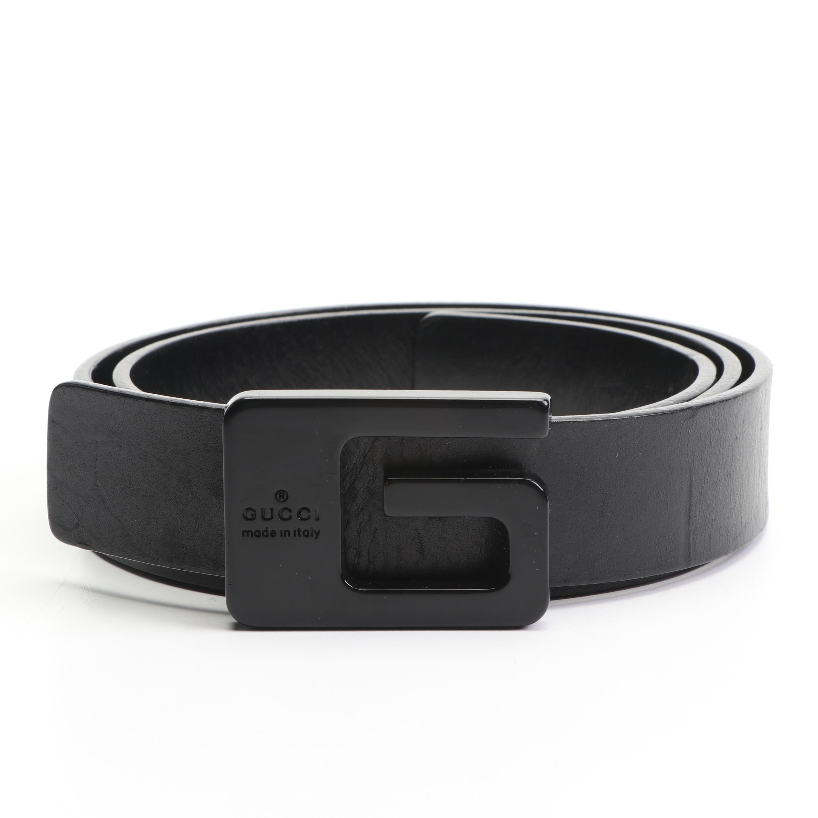 Gucci Black Leather Belt, Made in Italy