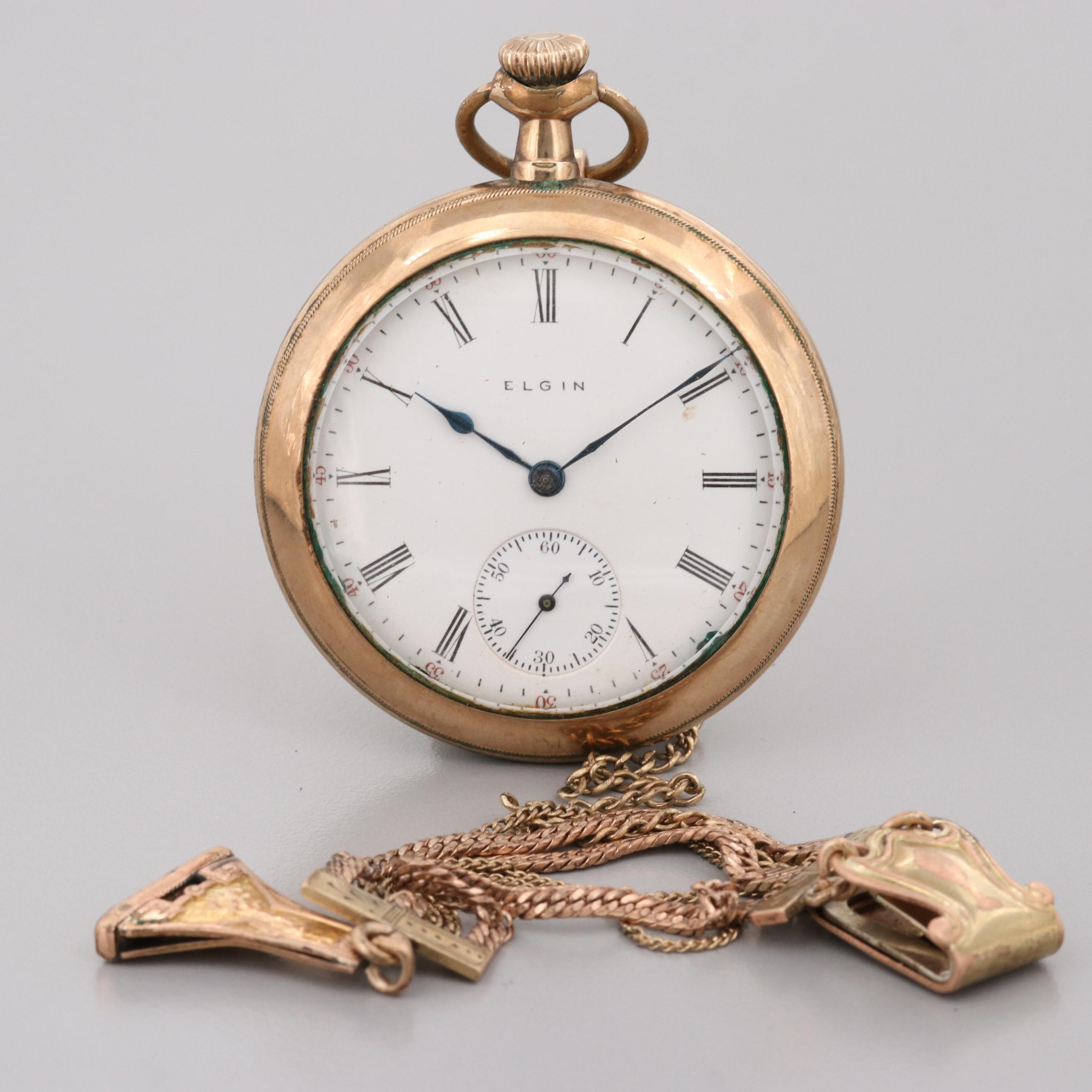 Antique Elgin Gold Filled Pocket Watch With Ornate Fob Chain