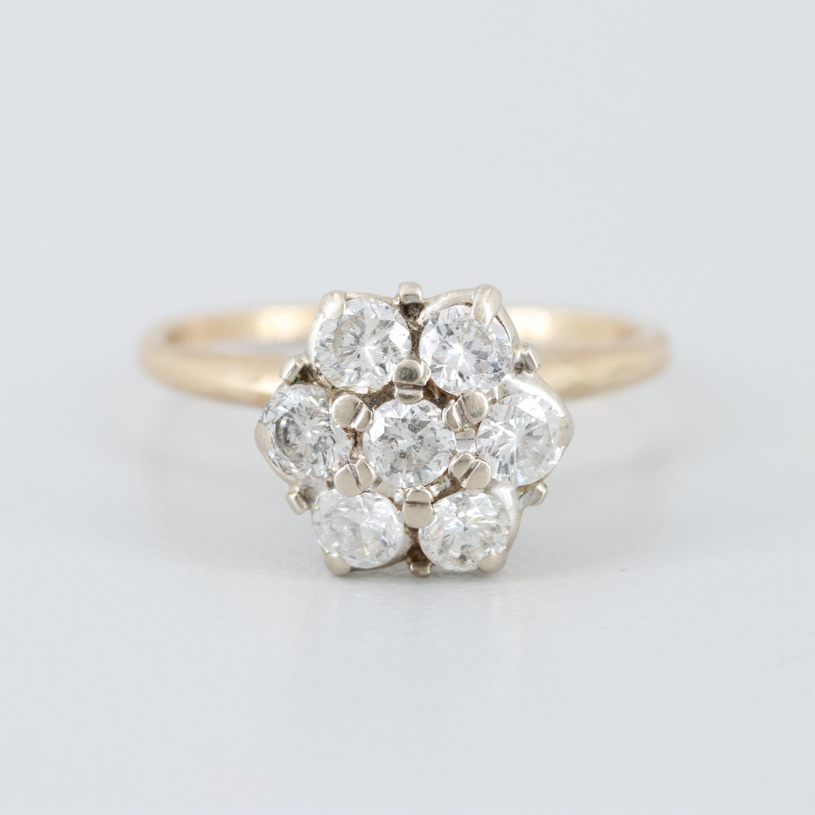 10K Yellow Gold Diamond Cluster Ring with 14K White Gold Setting