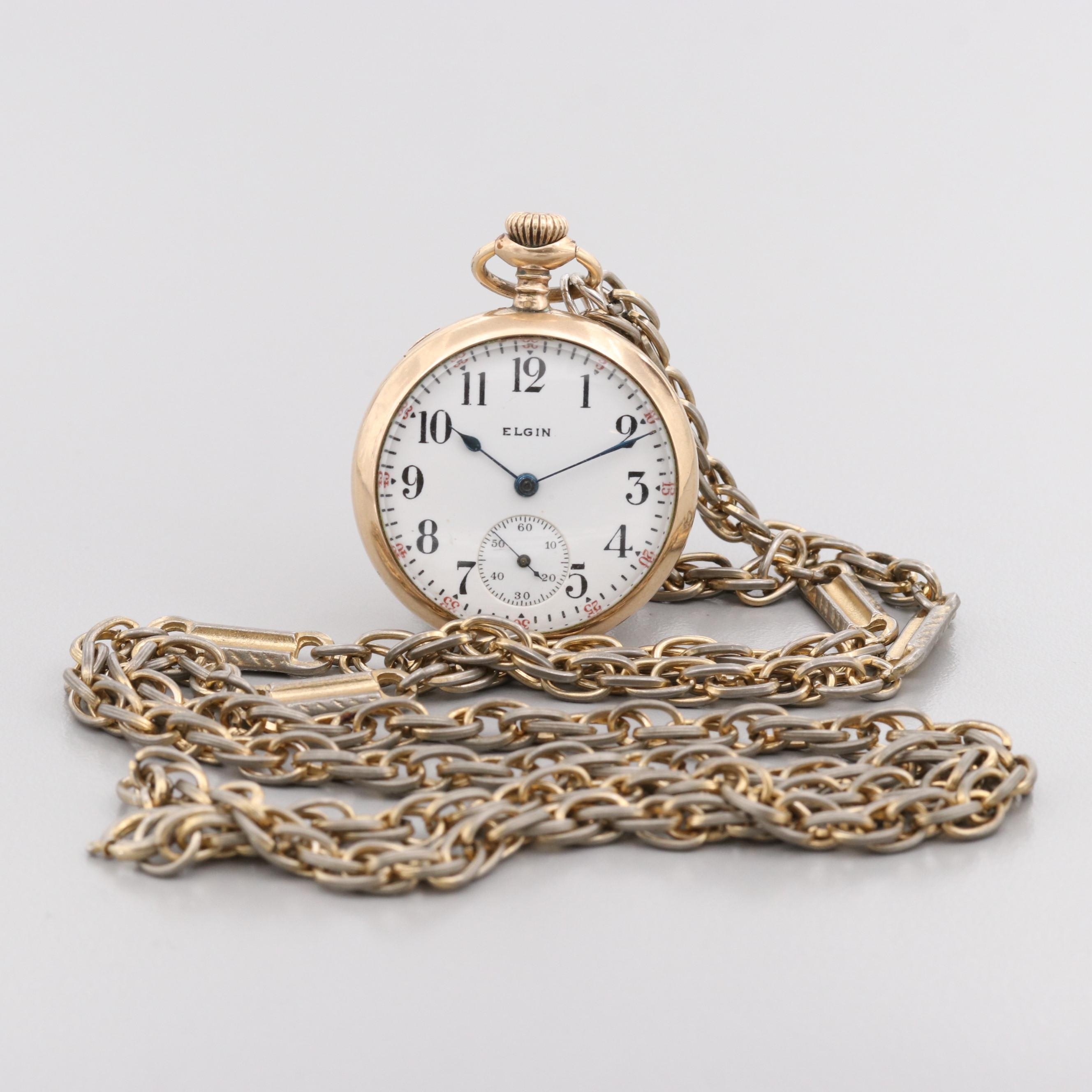Elgin Gold Filled Pocket Watch With Gold Tone Fob Chain, 1917