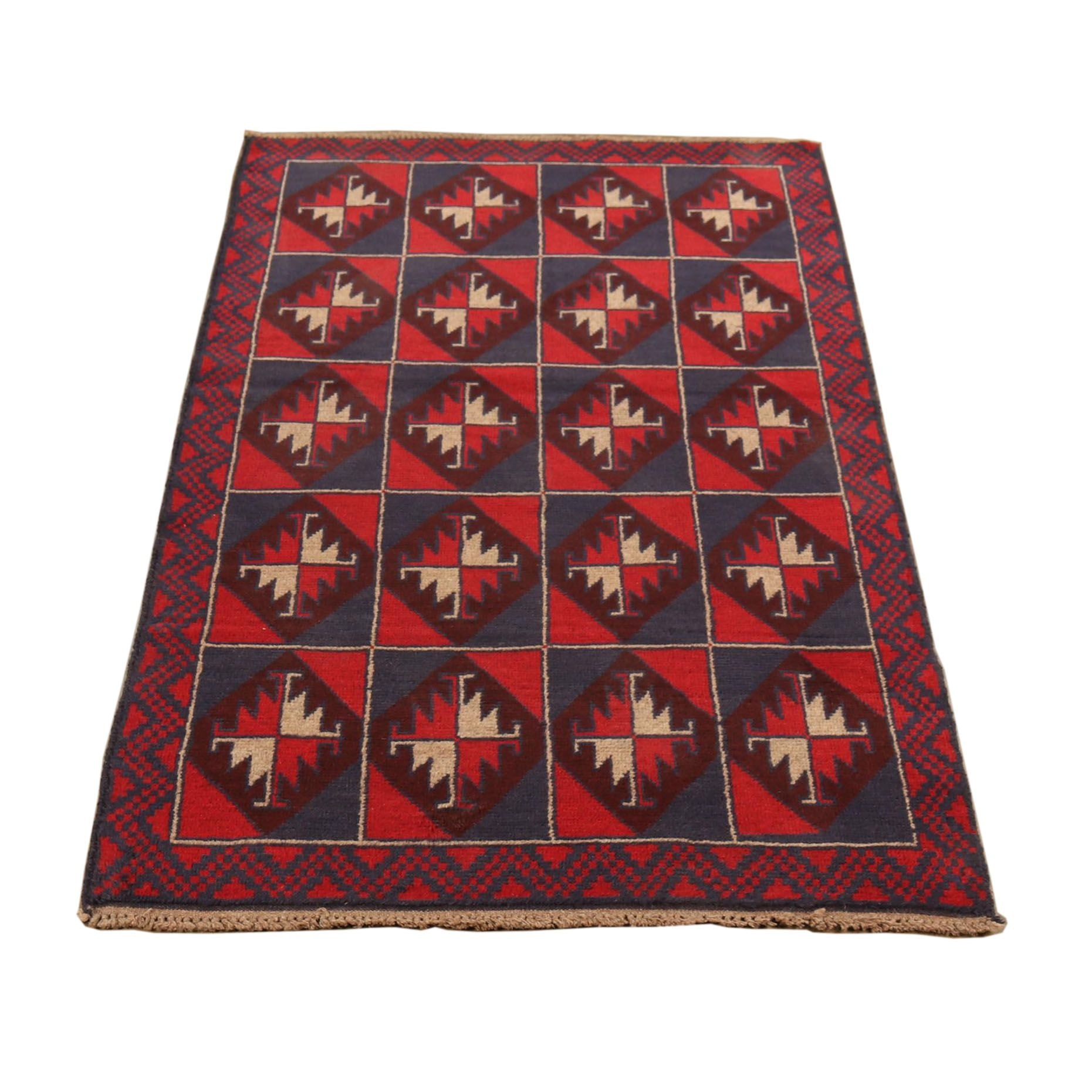 Hand-Knotted Baluchi Wool Rug