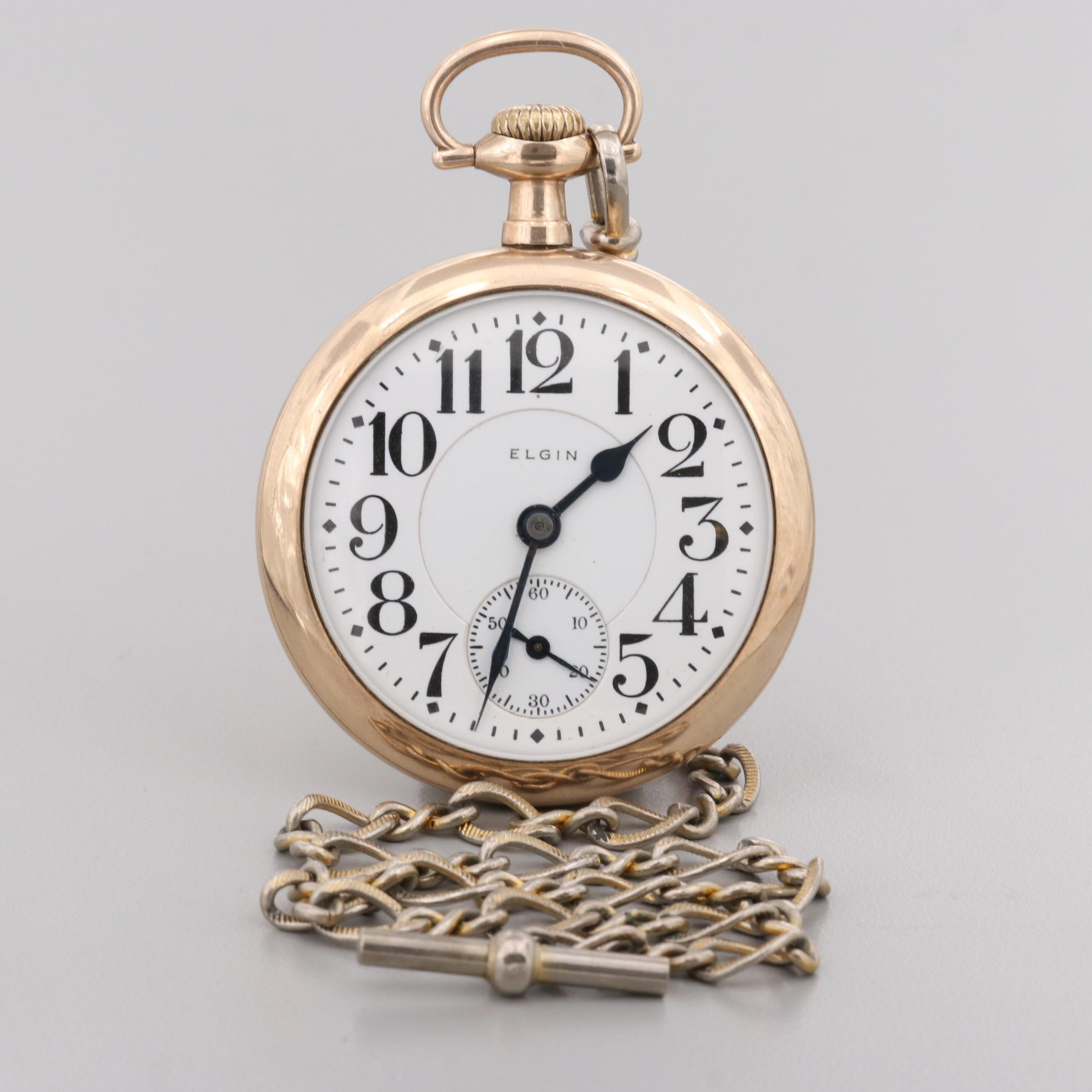 Elgin Railroad Grade Pocket Watch With Fob Chain, 1917