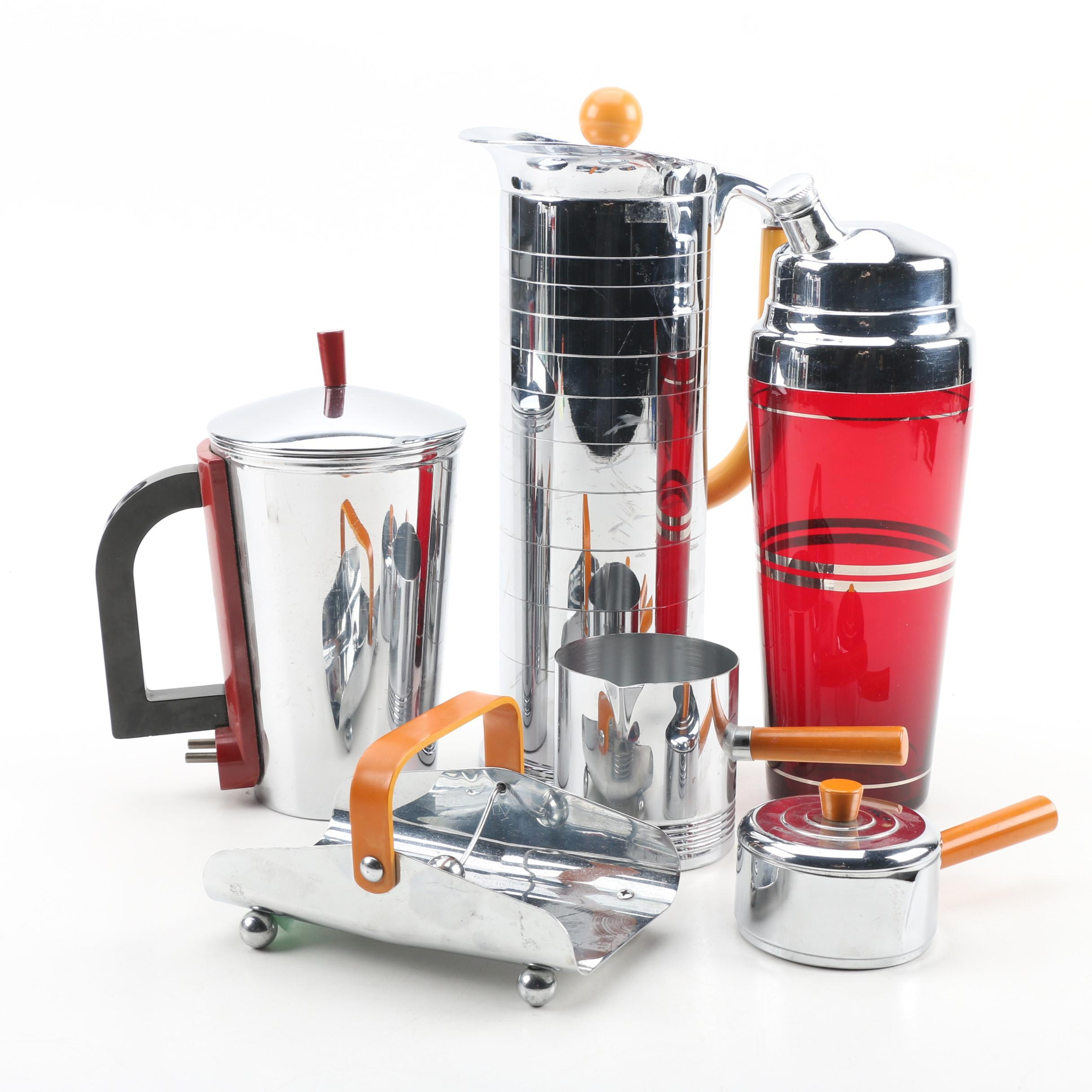 Art Deco Chrome Kitchen Gadgets and Barware by Chase, Manning Bowman, and more