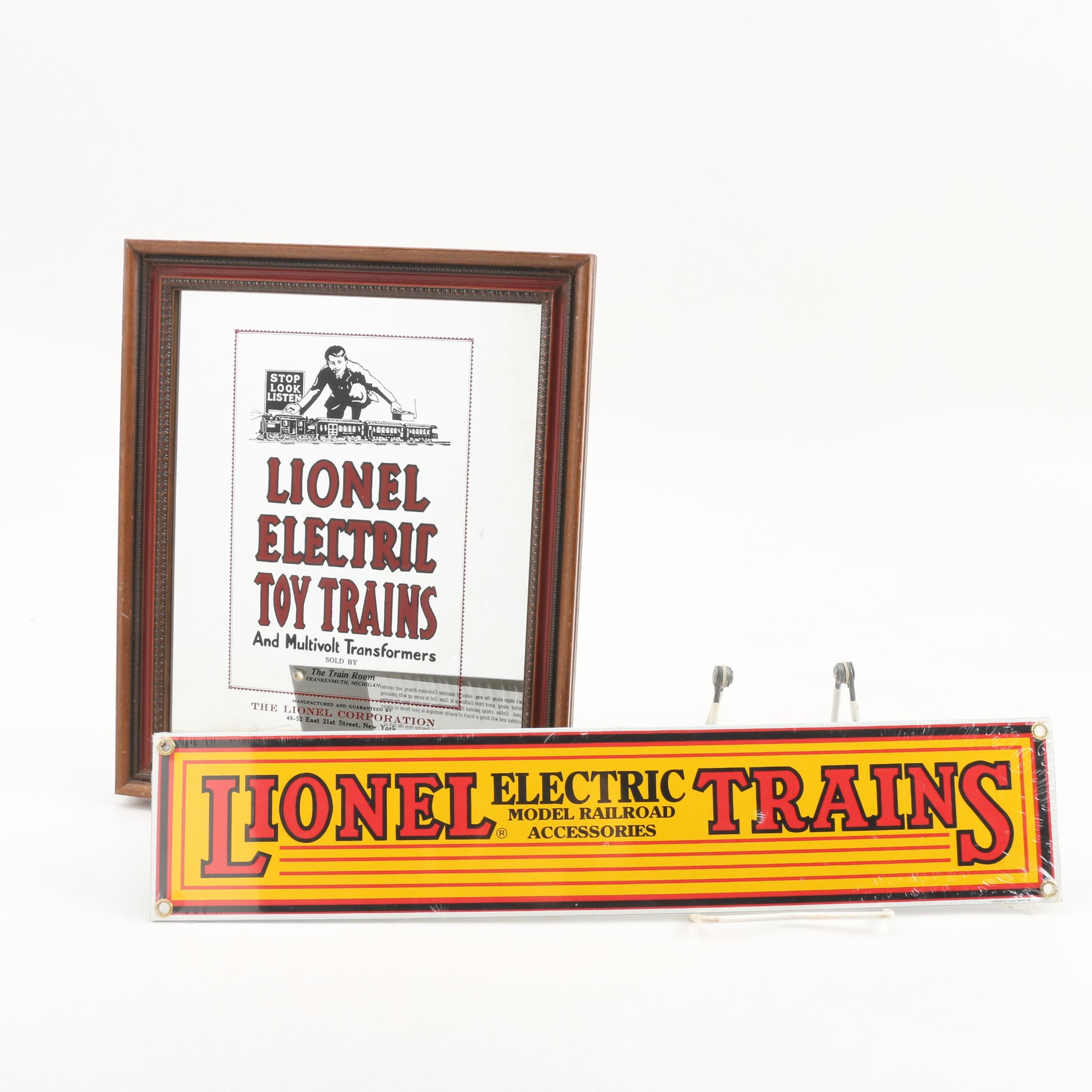 Lionel Model Railroad Advertising Sign and Mirror, Late 20th Century