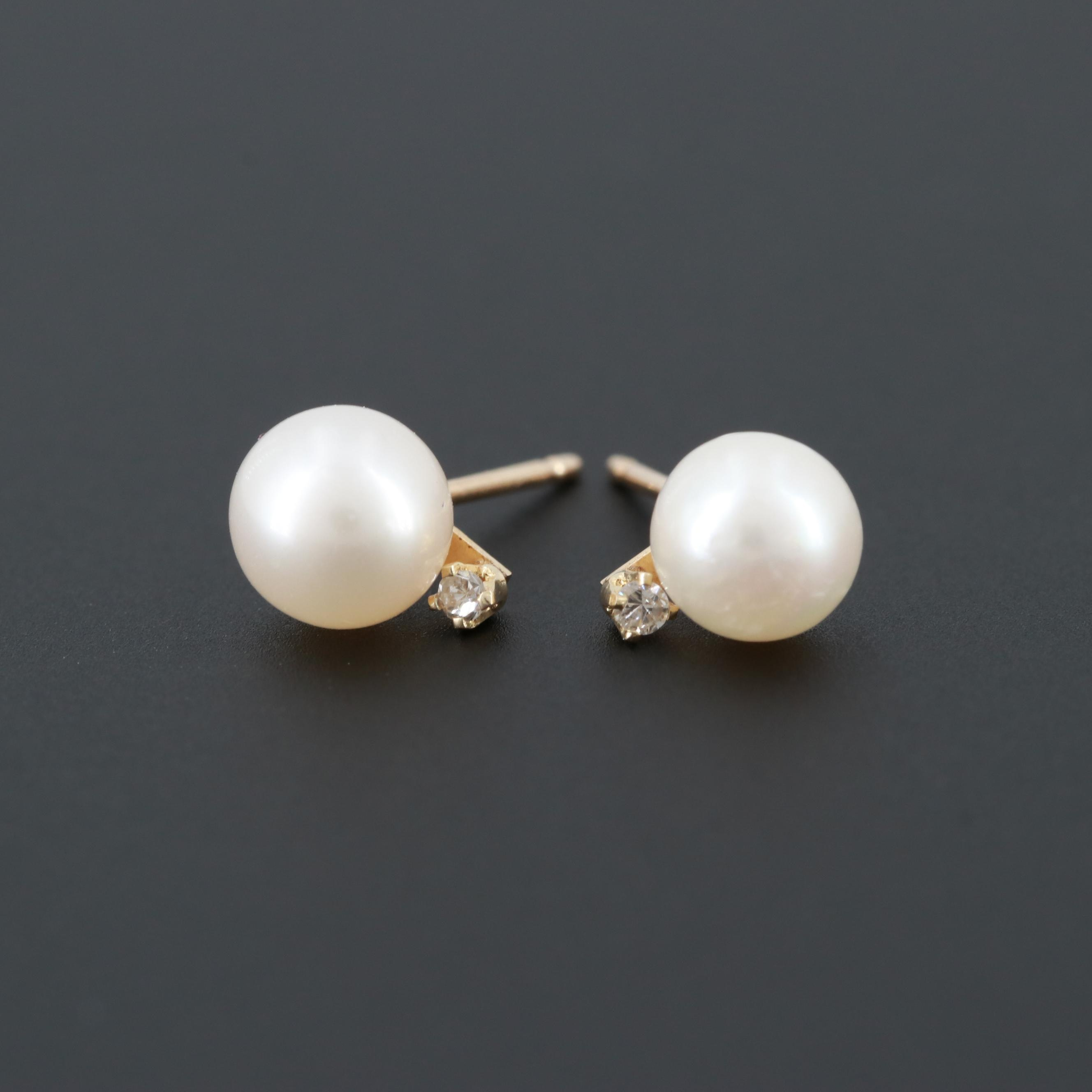 10K Yellow Gold Cultured Pearl and Diamond Stud Earrings